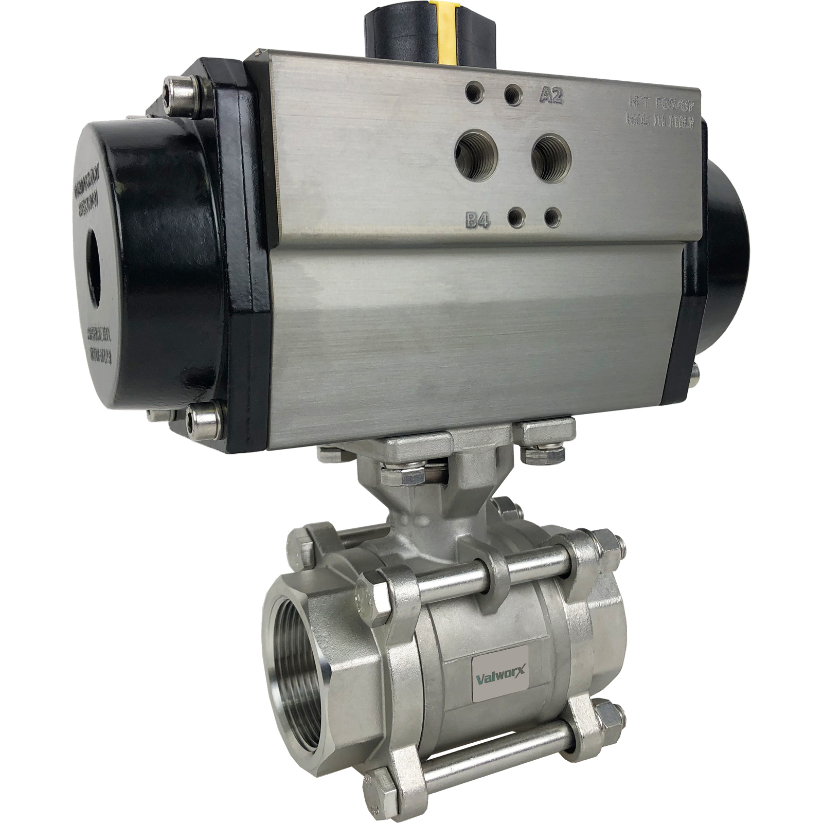 """1-1/2"""" Air Actuated 3-pc Stainless Ball Valve - Spring Return"""