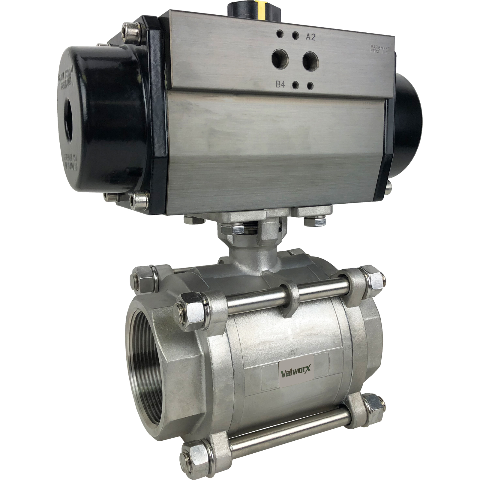 """2-1/2"""" Air Actuated 3-pc Stainless Ball Valve - Spring Return"""