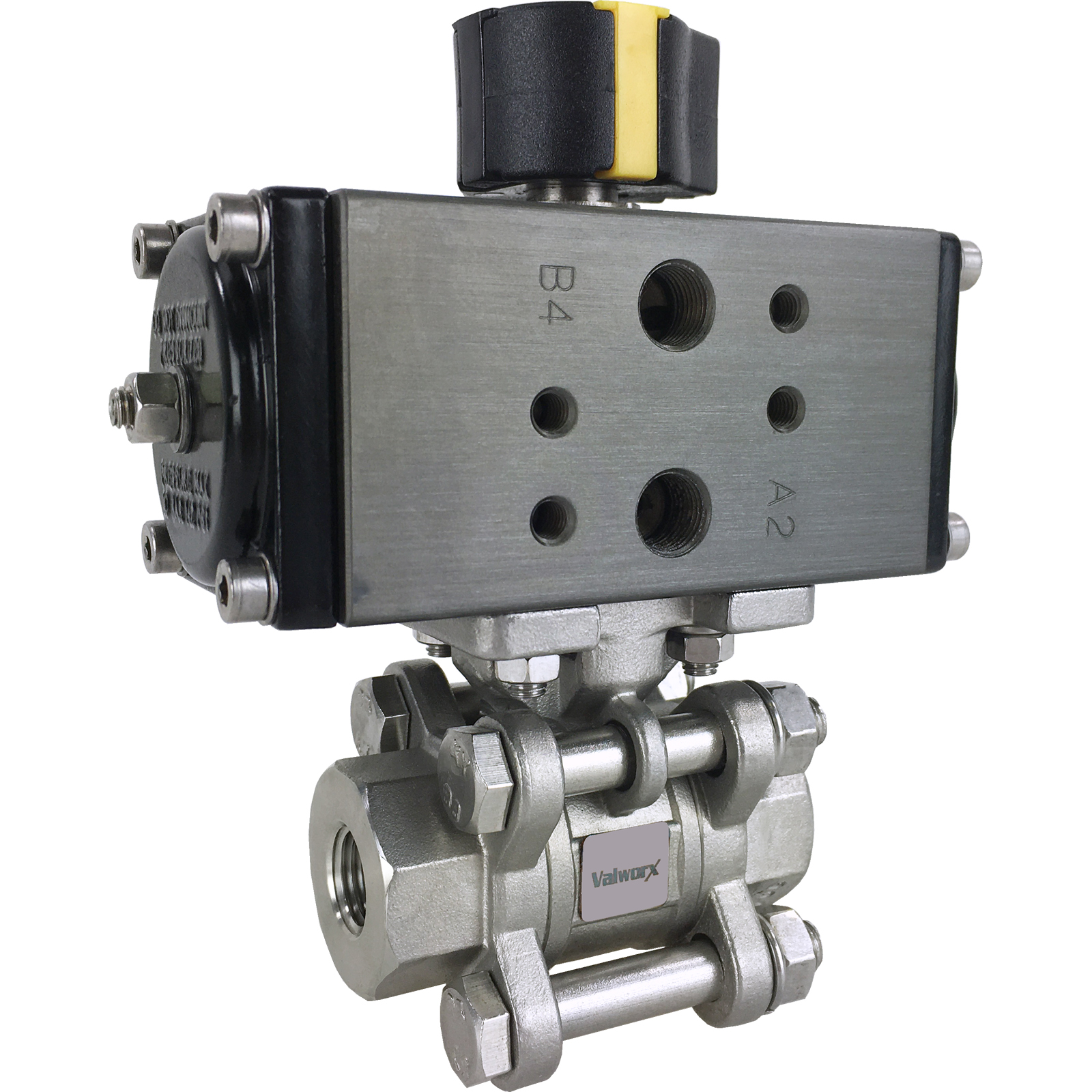 "1/4"" Compact Air Actuated 3-pc SS Ball Valve - Double Acting"