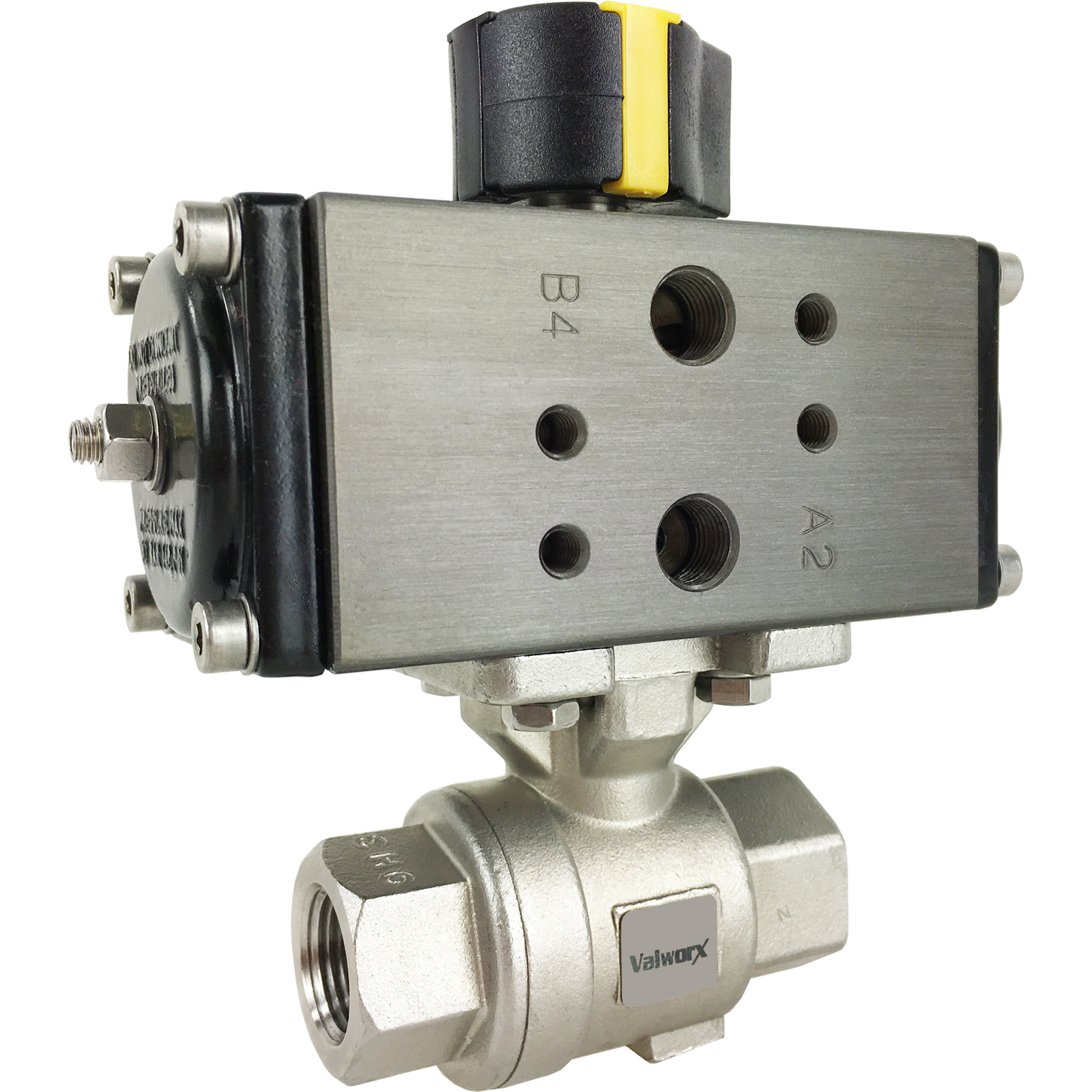 "3/8"" Compact Air Actuated SS Ball Valve - Double Acting"