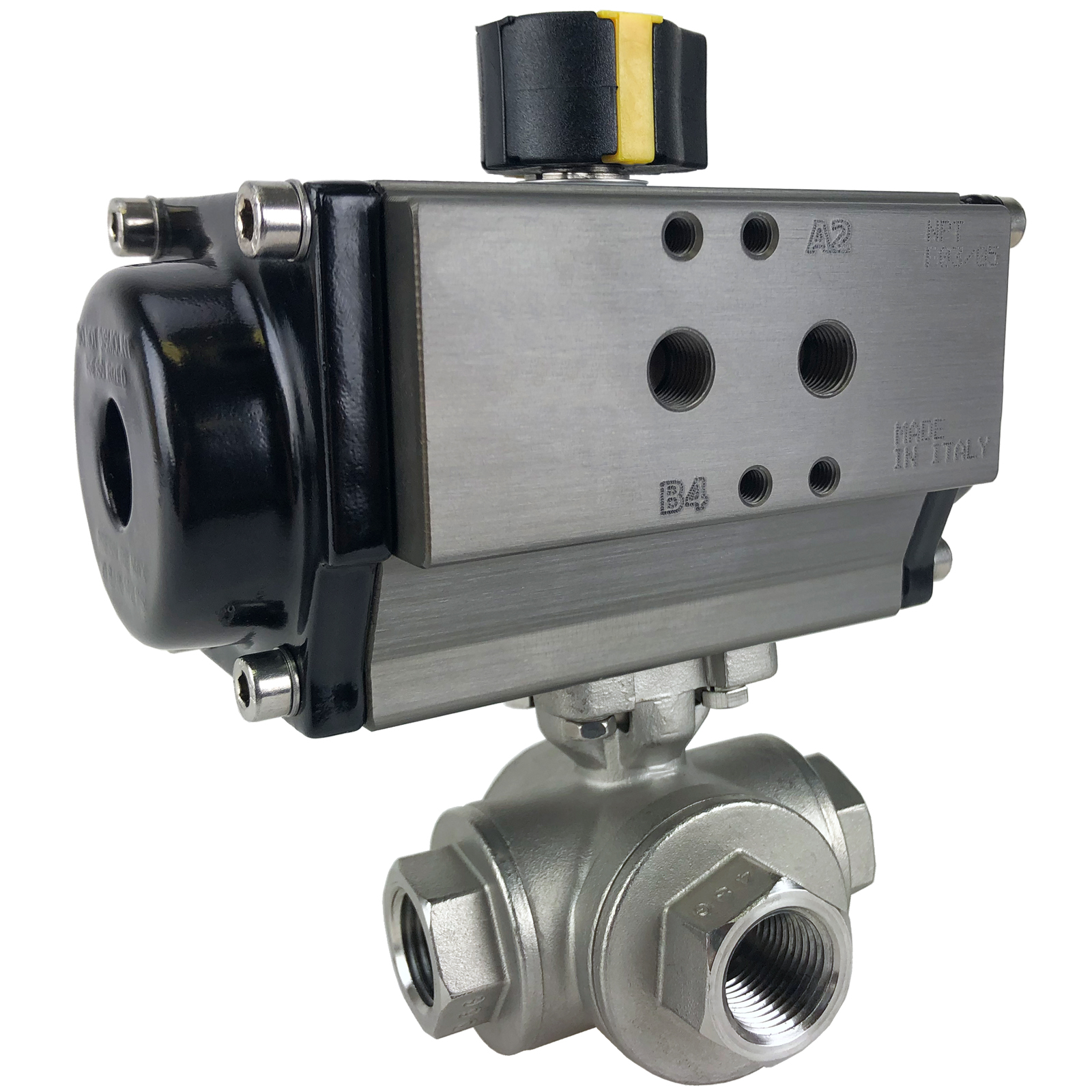 """1/2"""" Air Actuated 3-Way SS T-Port Ball Valve, Double Acting"""