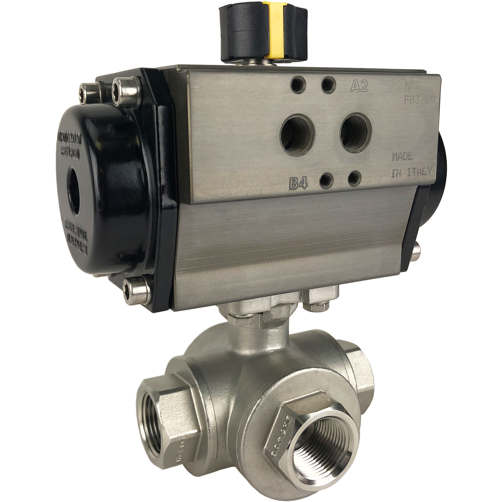 "3/4"" Air Actuated 3-Way SS T-Port Ball Valve, Spring Return"