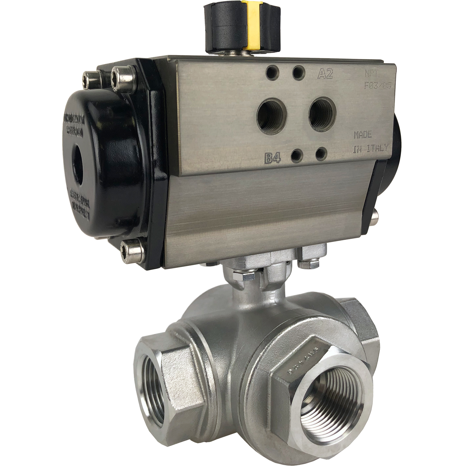 """1"""" Air Actuated 3-Way SS T-Port Ball Valve, Spring Return"""