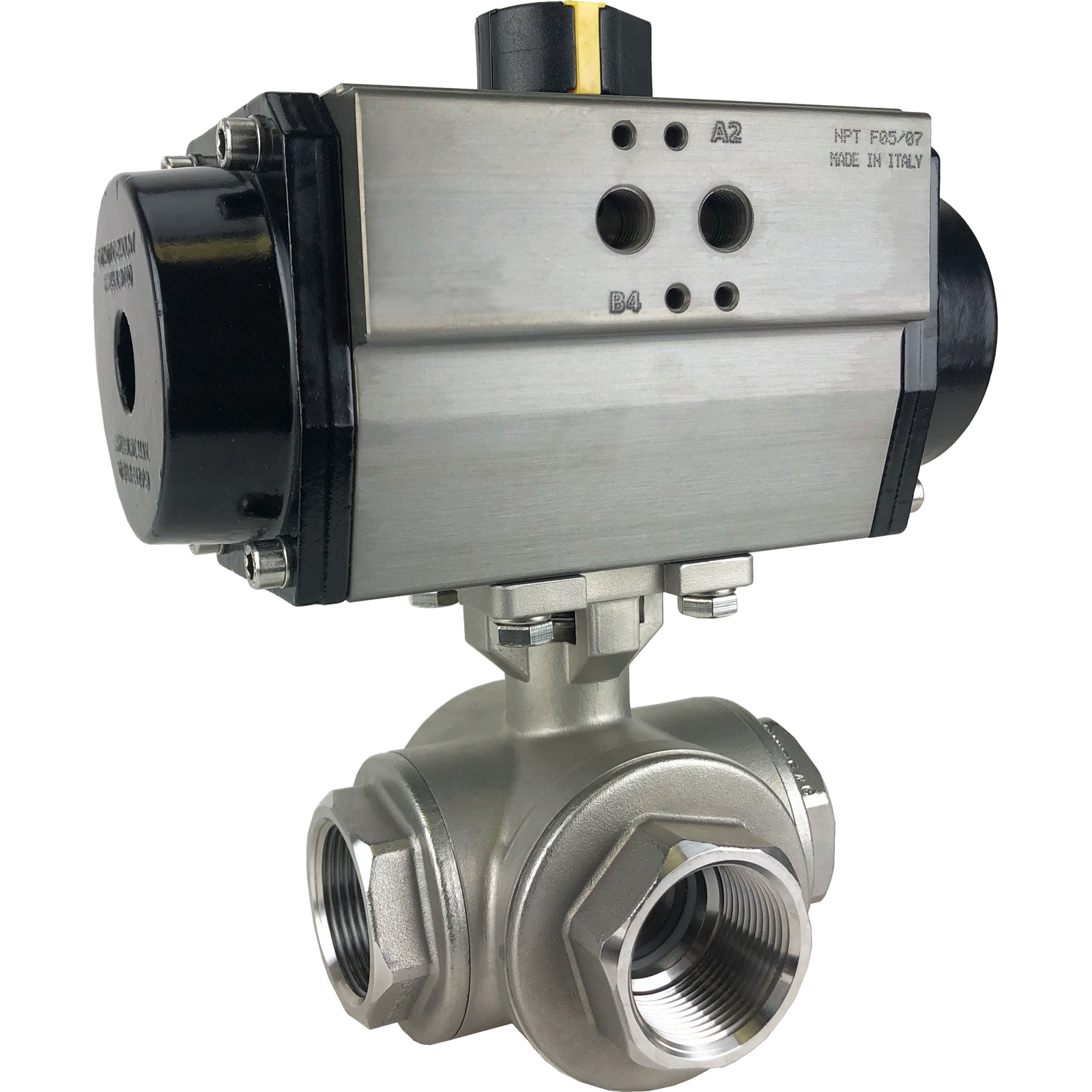 """1-1/4"""" Air Actuated 3-Way SS L-port Valve, Double Acting"""
