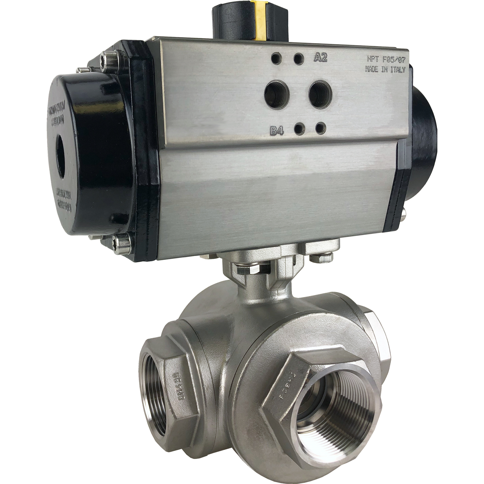 """1-1/2"""" Air Actuated 3-Way SS T-Port Ball Valve, Double Acting"""