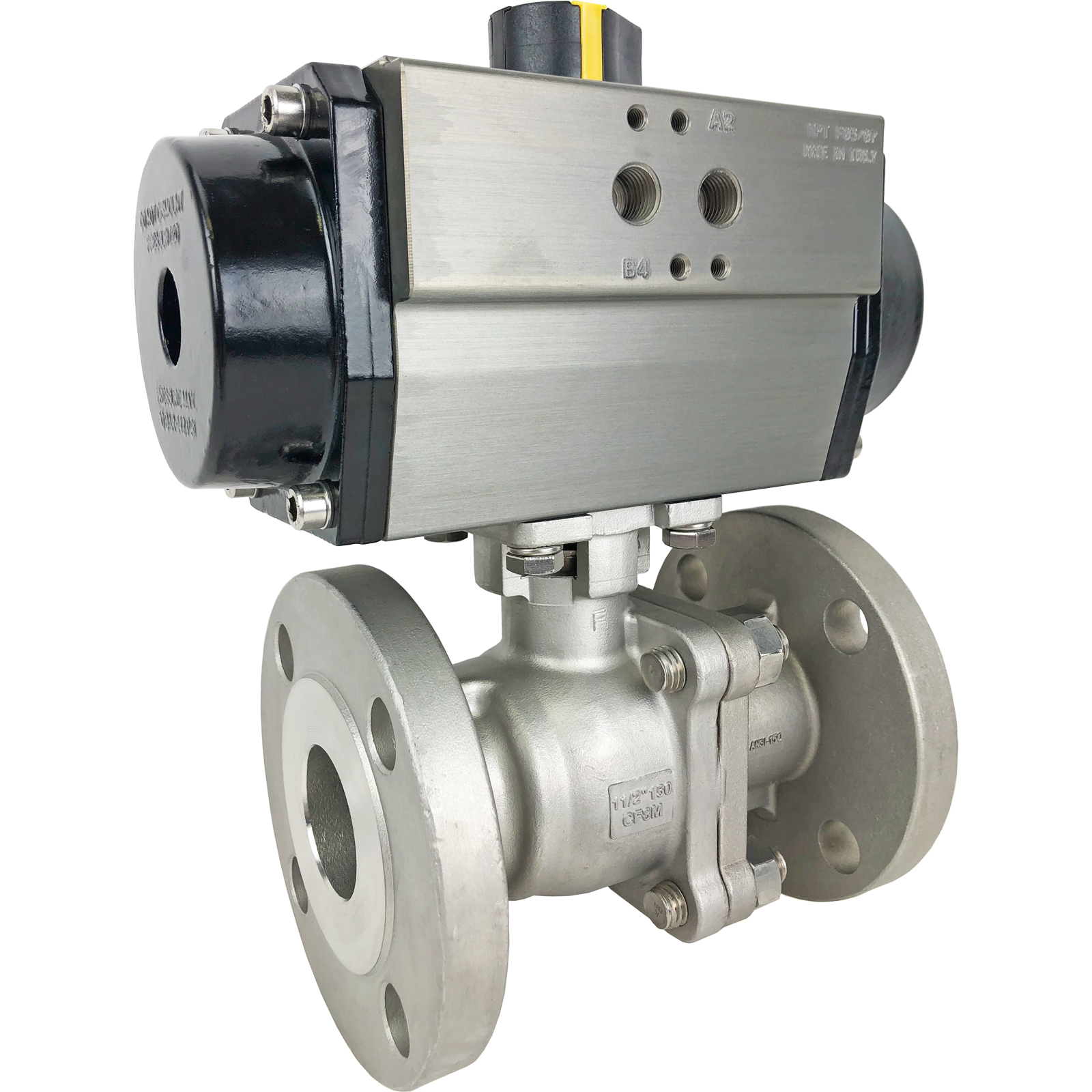 "1-1/2"" Air Actuated 150# Flanged SS Ball Valve - Spring Return"