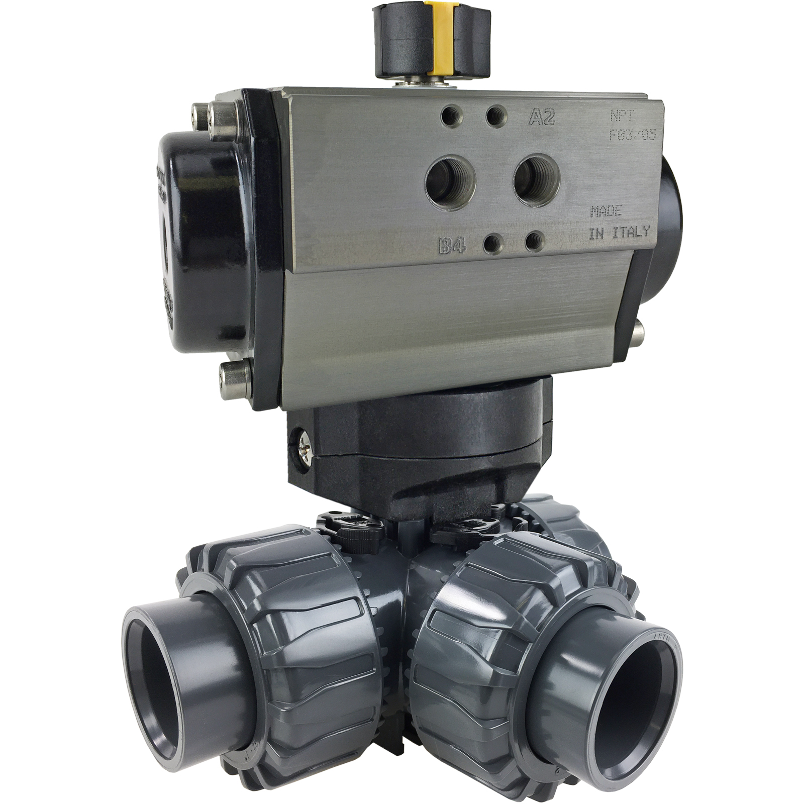 """1"""" Air Actuated 3-Way L-port PVC Ball Valve - Double Acting"""