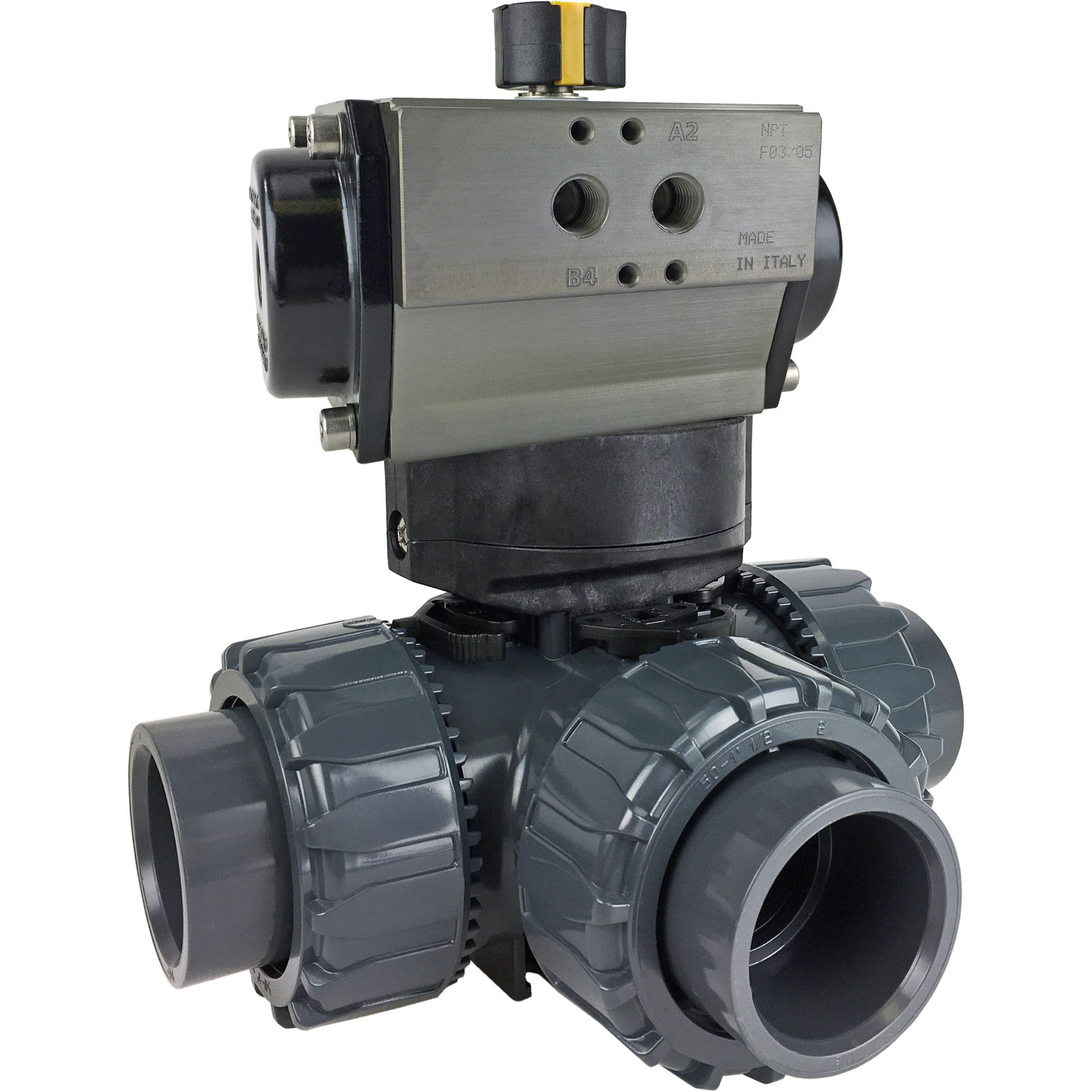 "1-1/2"" Air Actuated 3-Way L-port PVC Ball Valve - Double Acting"