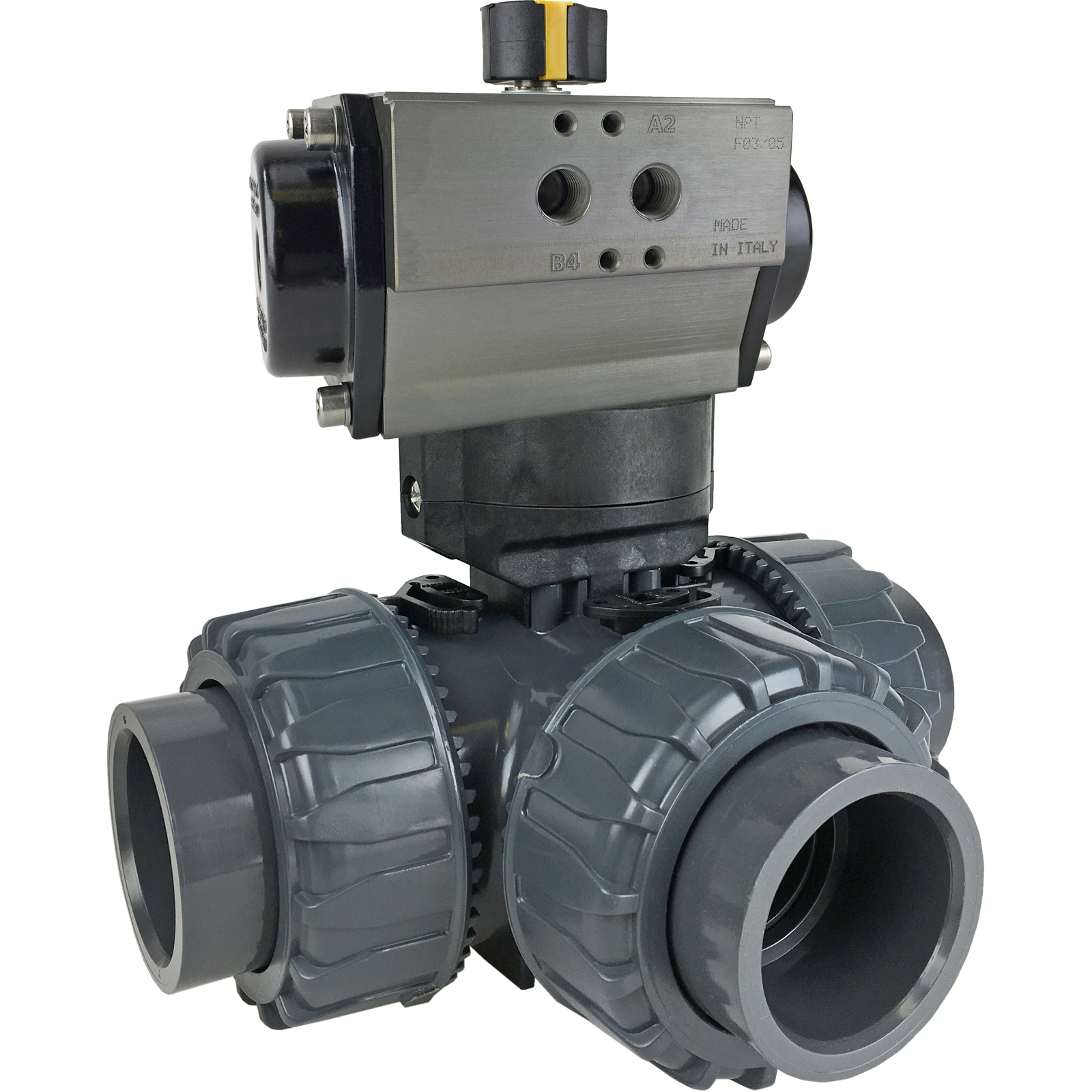 "2"" Air Actuated 3-Way L-port PVC Ball Valve - Double Acting"