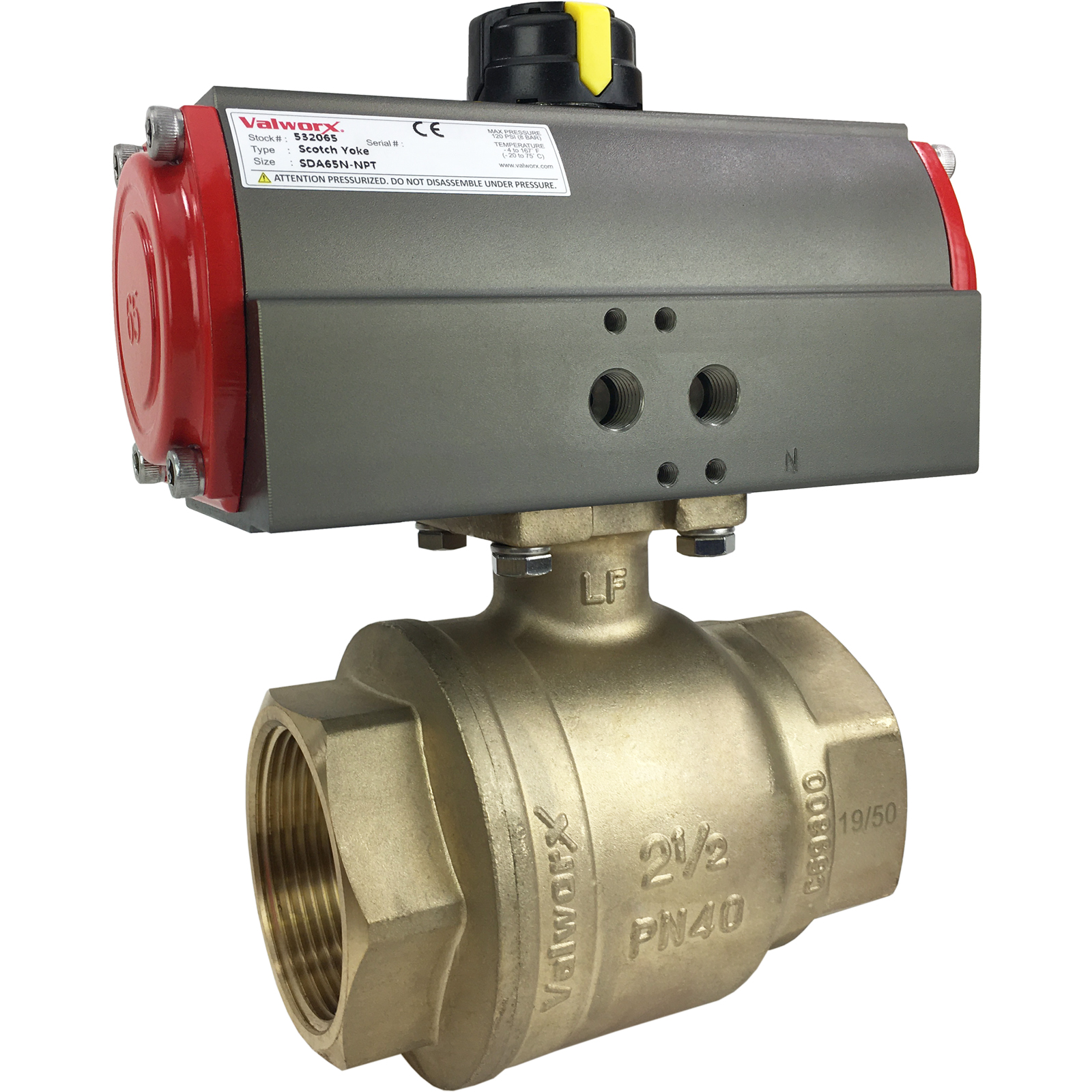 "2-1/2"" Air Actuated Brass Ball Valve - Double Acting Scotch Yoke"