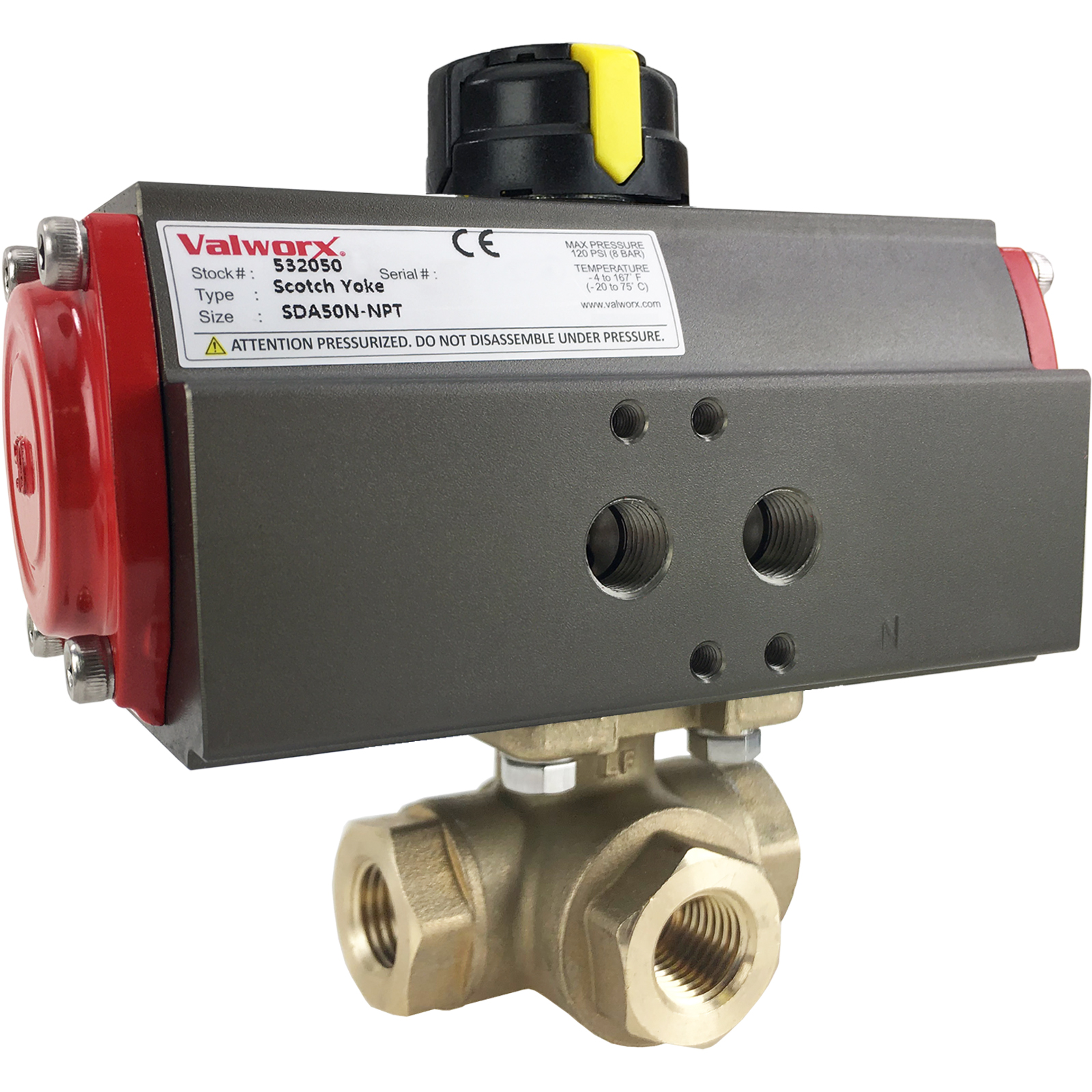 """1/4"""" Air Actuated 3-Way Brass T-Diverter Valve, Double Acting Scotch Yoke"""