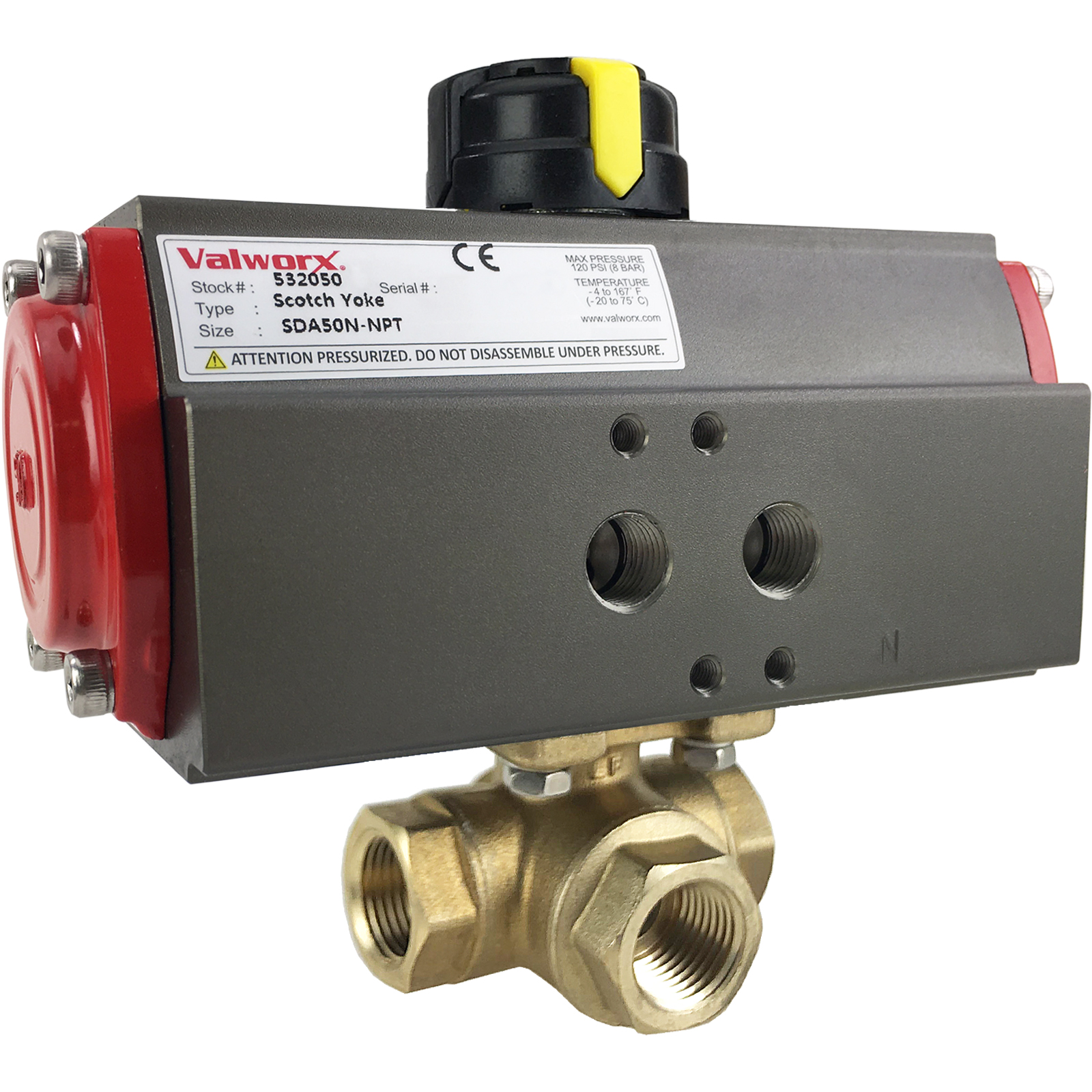 """3/8"""" Air Actuated 3-Way Brass T-Diverter Valve, Double Acting Scotch Yoke"""