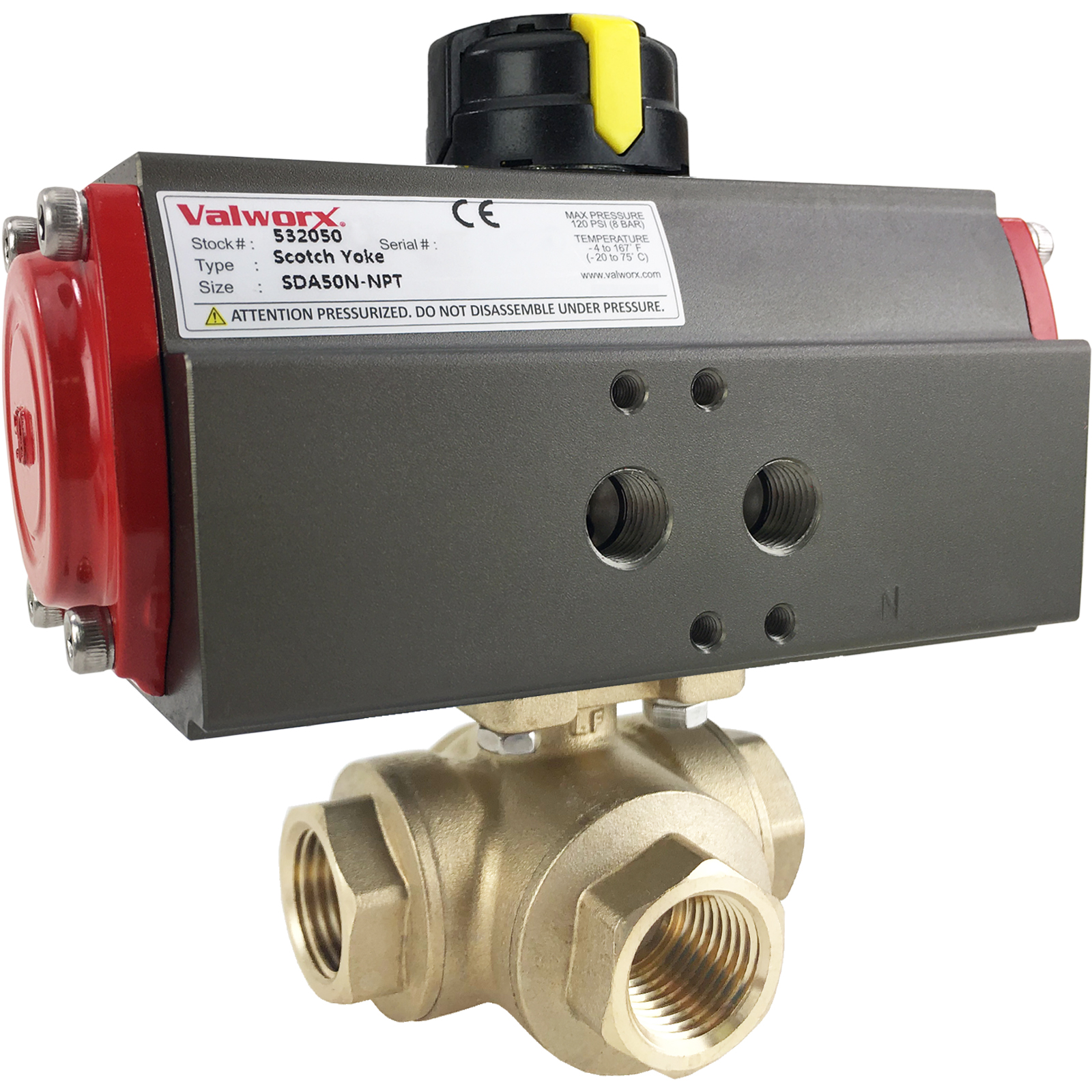 """1/2"""" Air Actuated 3-Way Brass L-Diverter Valve, Double Acting Scotch Yoke"""