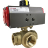 Air Actuated Brass 3-Way Ball Valves- Scotch Yoke