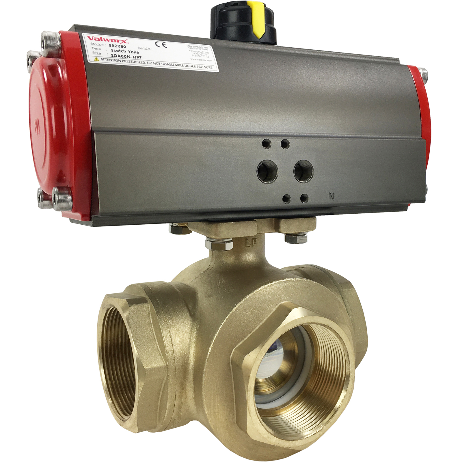 """2"""" Air Actuated 3-Way Brass L-Diverter Valve, Double Acting Scotch Yoke"""
