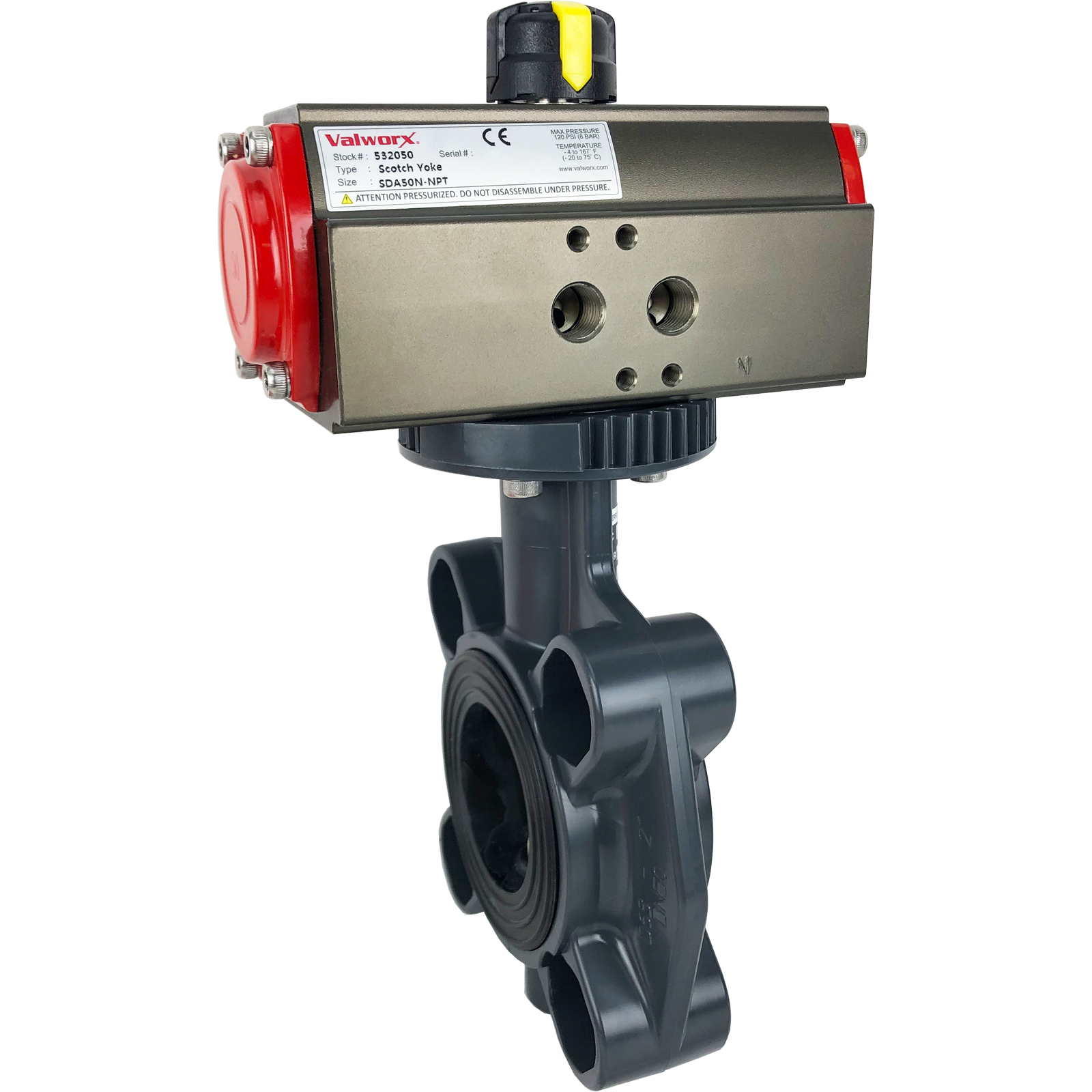 """2"""" Air Actuated PVC Butterfly Valve, Scotch Yoke - Double Acting"""
