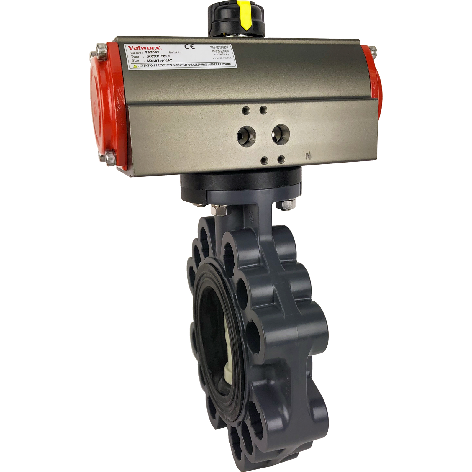 "3"" Air Actuated PVC Butterfly Valve, Scotch Yoke - Double Acting"