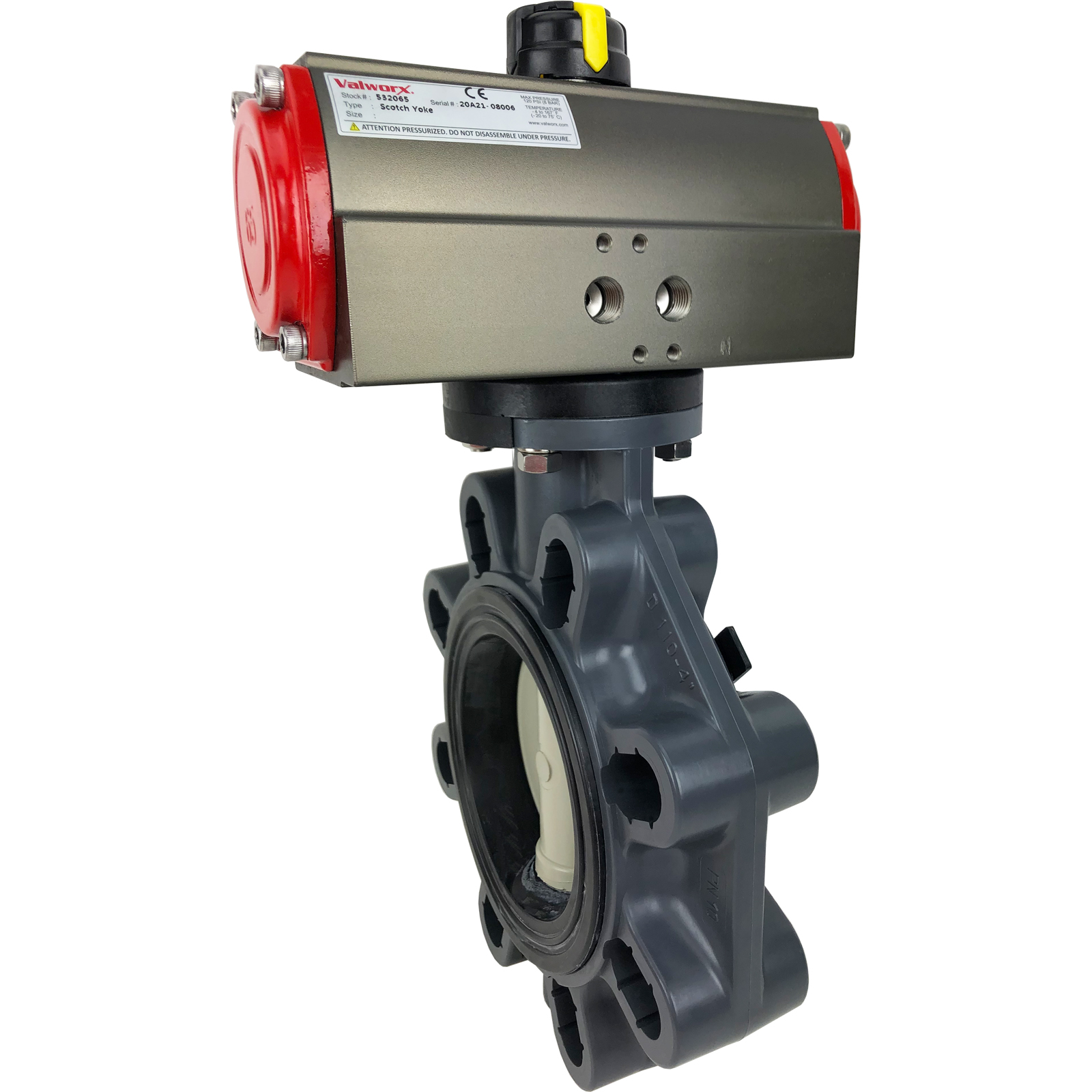 "4"" Air Actuated PVC Butterfly Valve, Scotch Yoke - Double Acting"