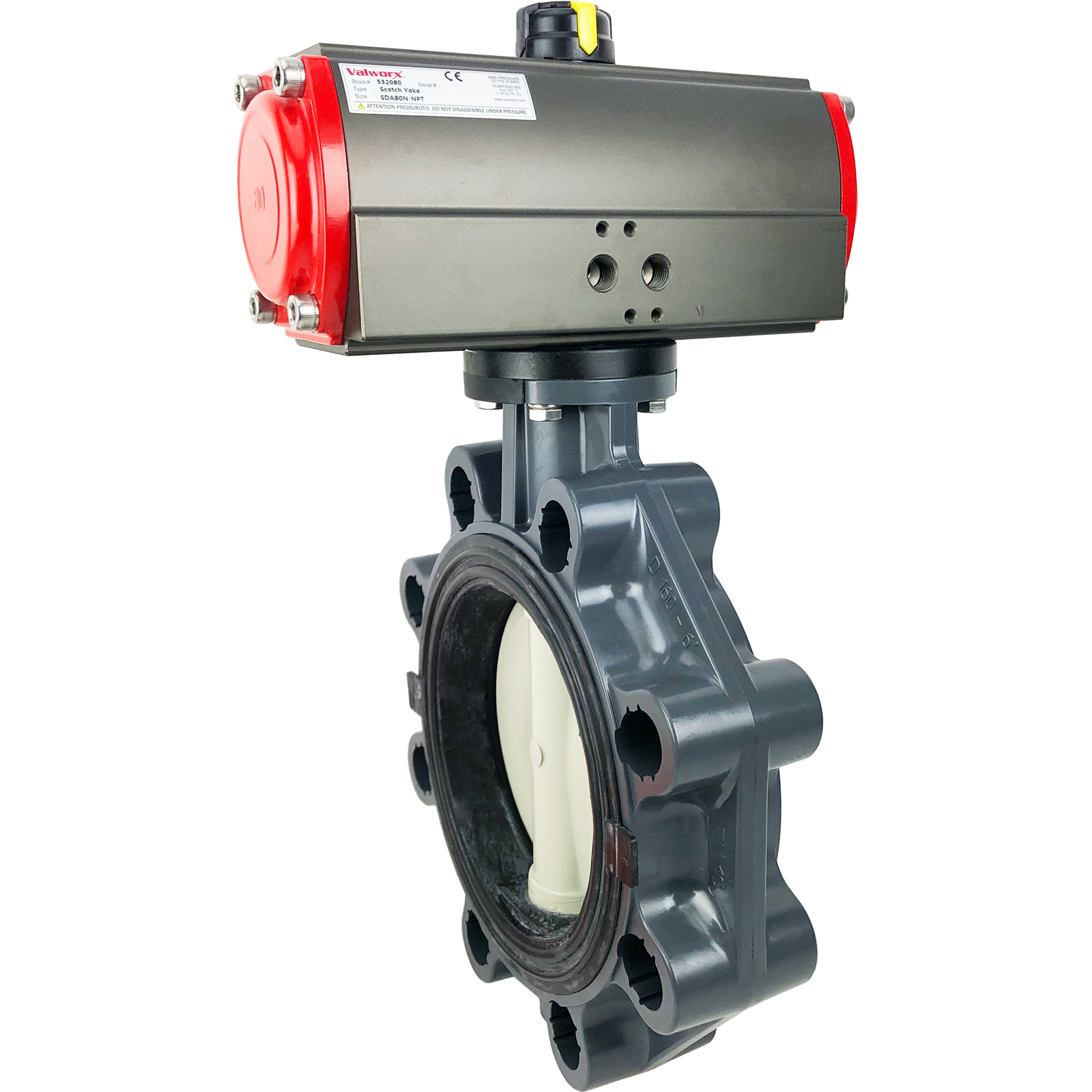 "6"" Air Actuated PVC Butterfly Valve, Scotch Yoke - Double Acting"