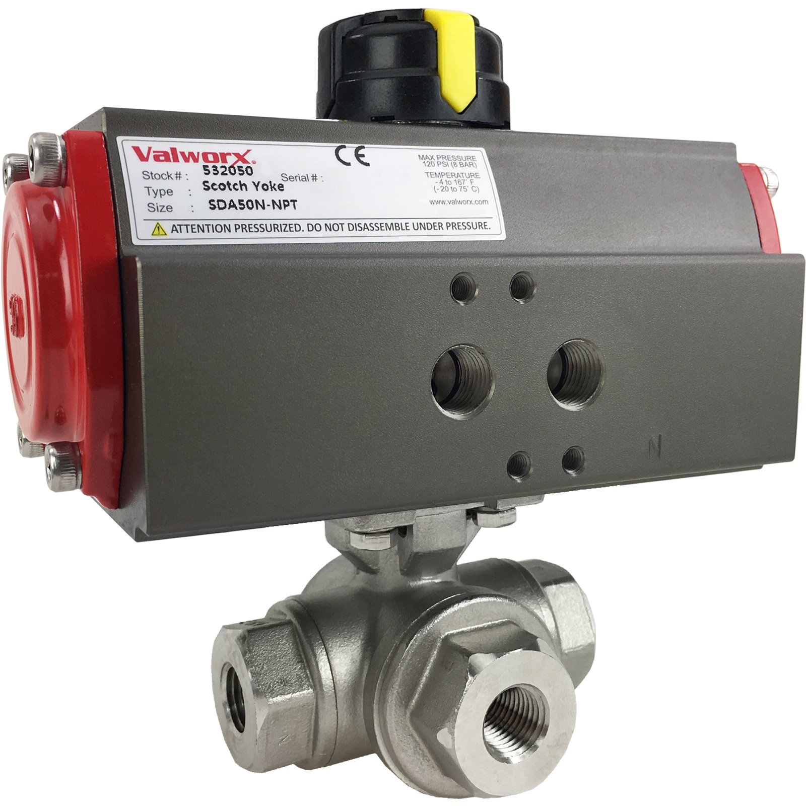 """1/4"""" Air Actuated 3-Way SS T-Port Ball Valve, Double Acting Scotch Yoke"""