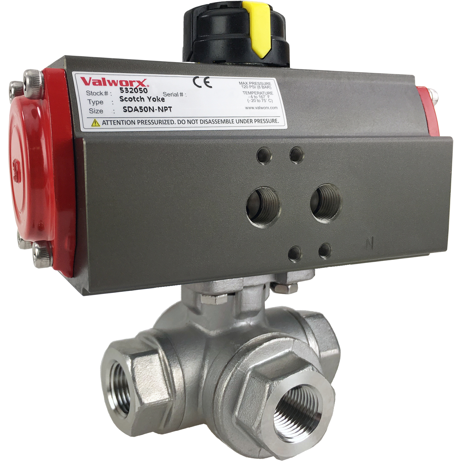 """3/8"""" Air Actuated 3-Way SS T-Port Ball Valve, Double Acting Scotch Yoke"""