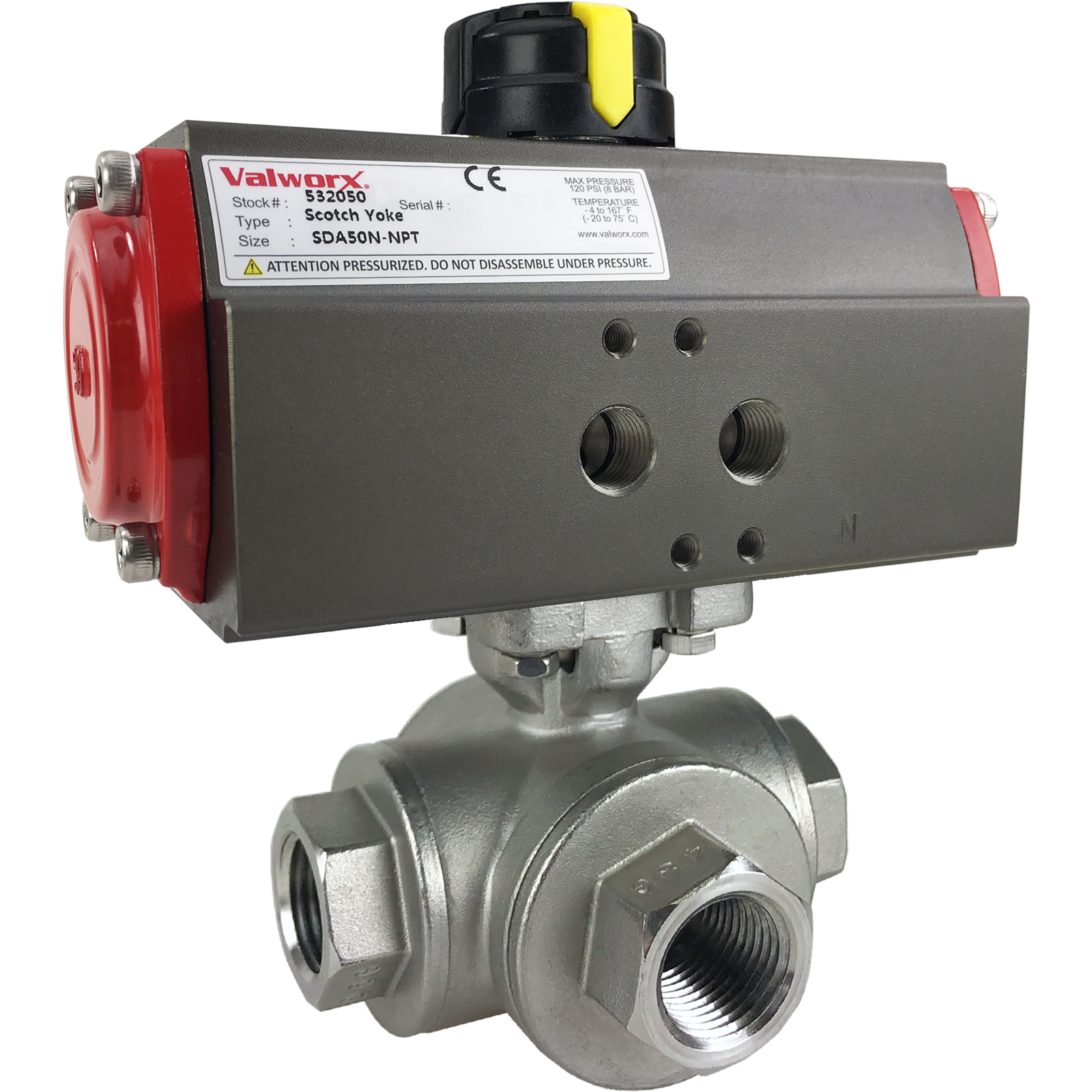 """1/2"""" Air Actuated 3-Way SS T-Port Ball Valve, Double Acting Scotch Yoke"""