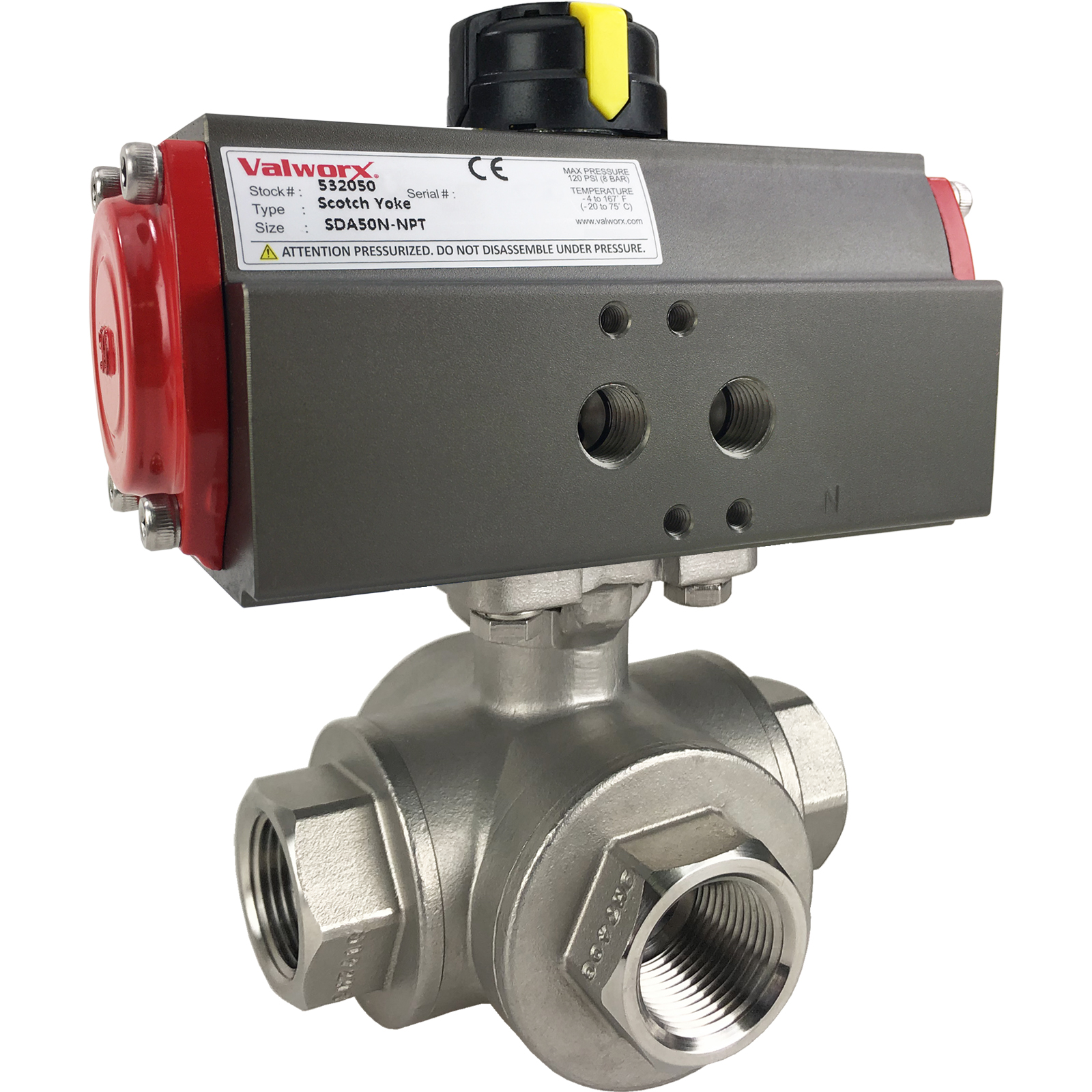 """3/4"""" Air Actuated 3-Way SS L-Port Ball Valve, Double Acting Scotch Yoke"""