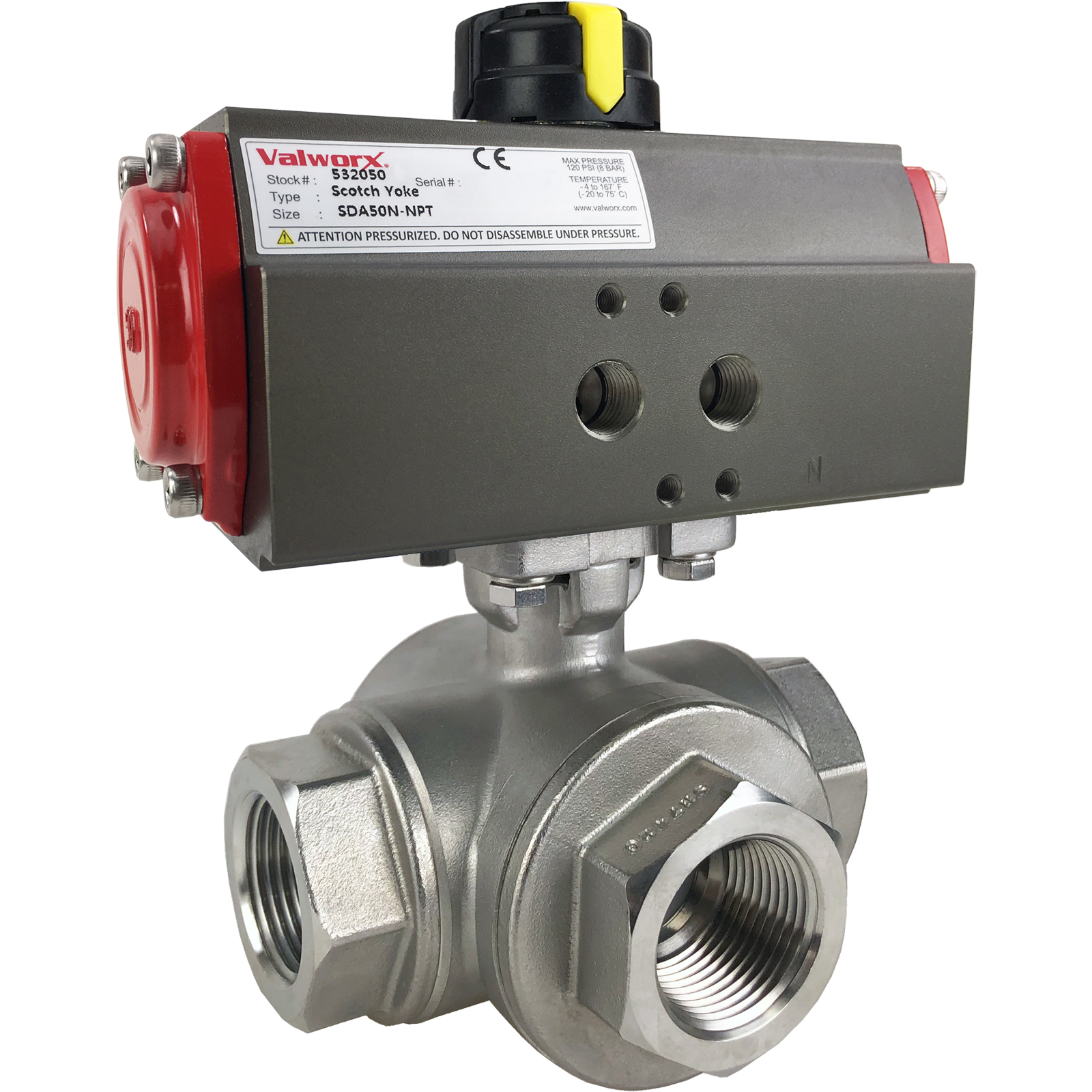"""1"""" Air Actuated 3-Way SS L-Port Ball Valve, Double Acting Scotch Yoke"""