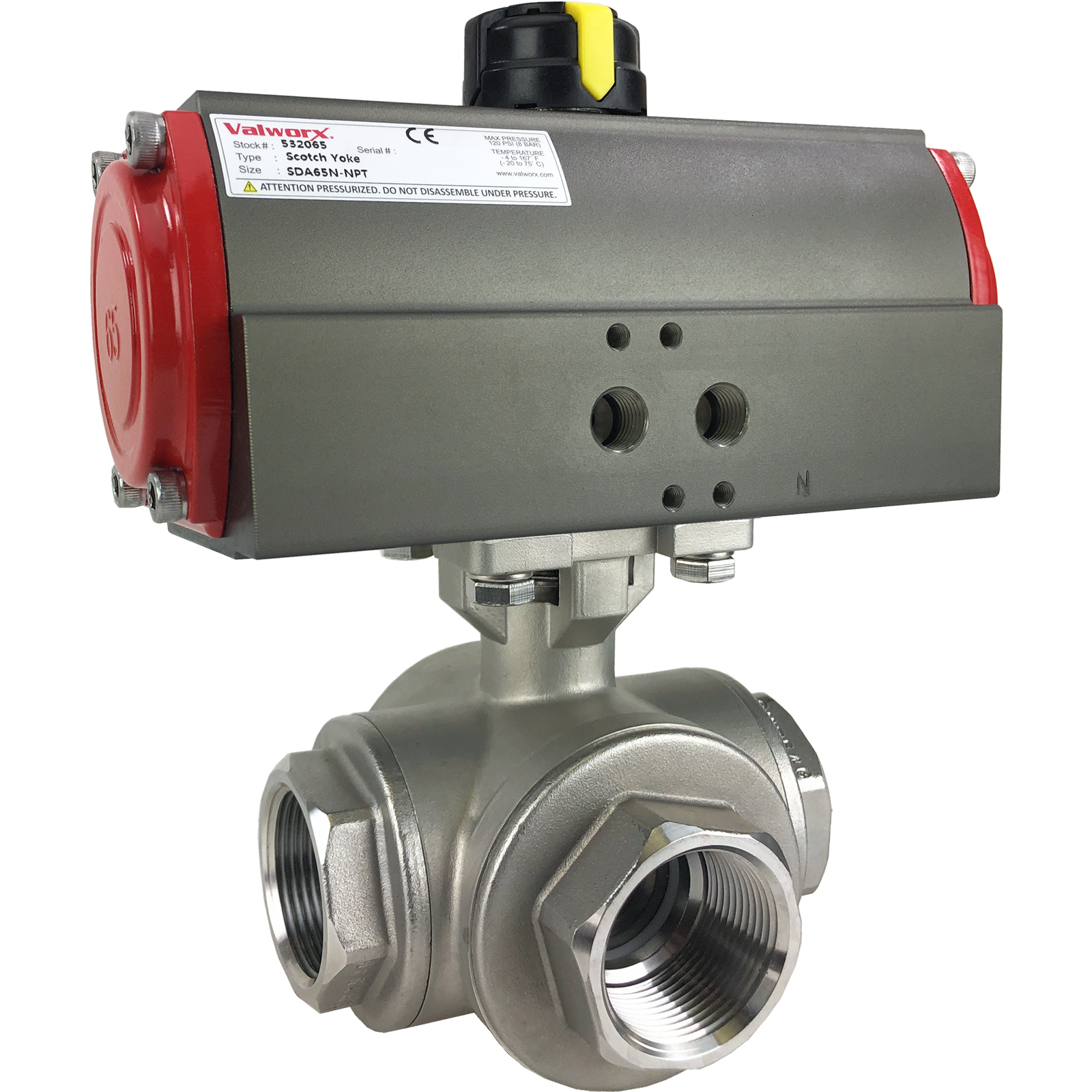 "1 1/4"" Air Actuated 3-Way SS L-Port Ball Valve, Double Acting Scotch Yoke"