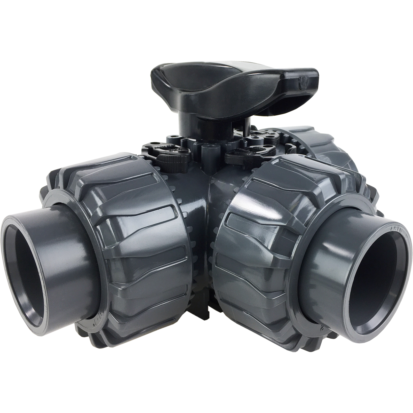 "1"" 3-Way T-port PVC Ball Valve - EPDM/Teflon Seals"