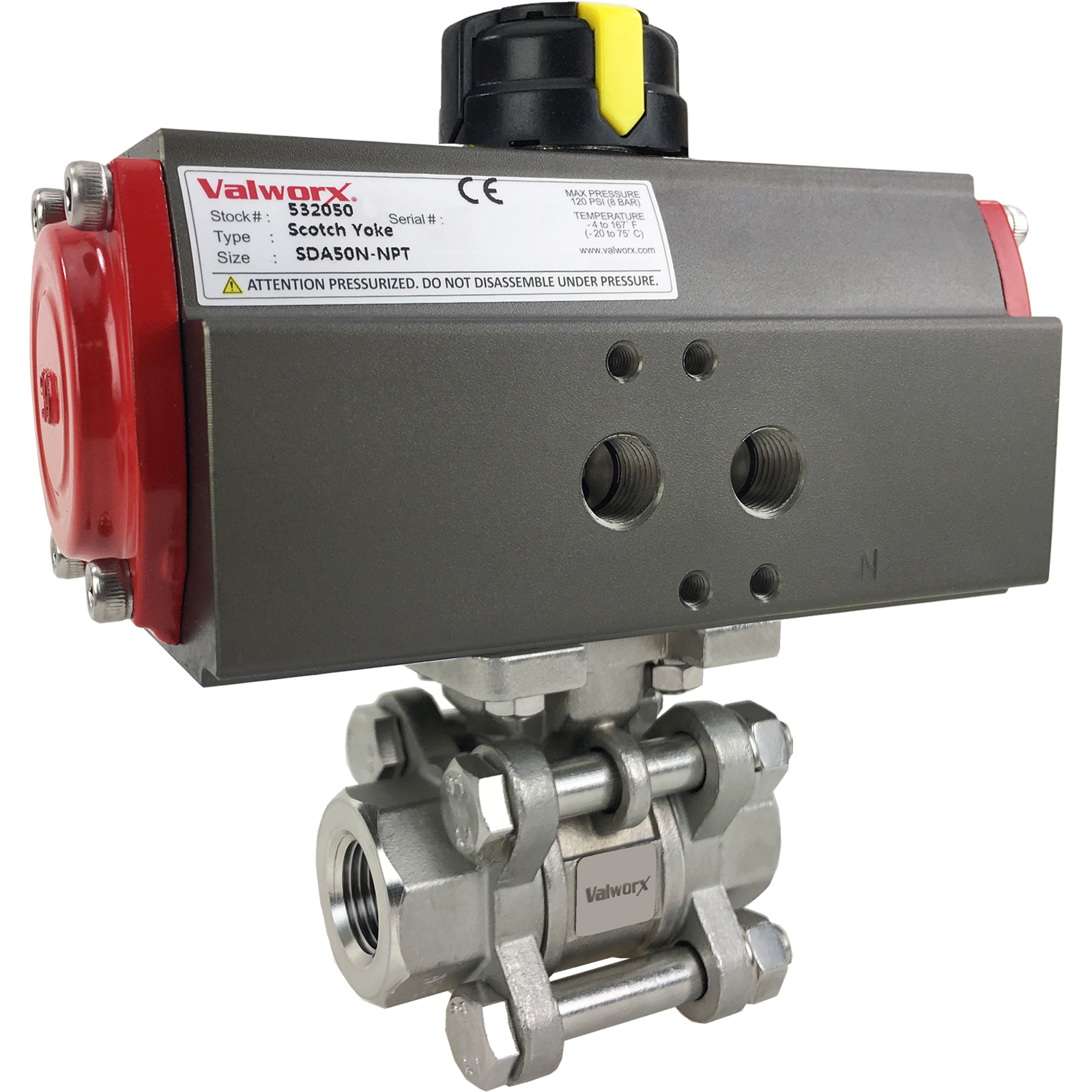 """3/8"""" Air Actuated 3-pc Stainless Ball Valve - Double Acting Scotch Yoke"""