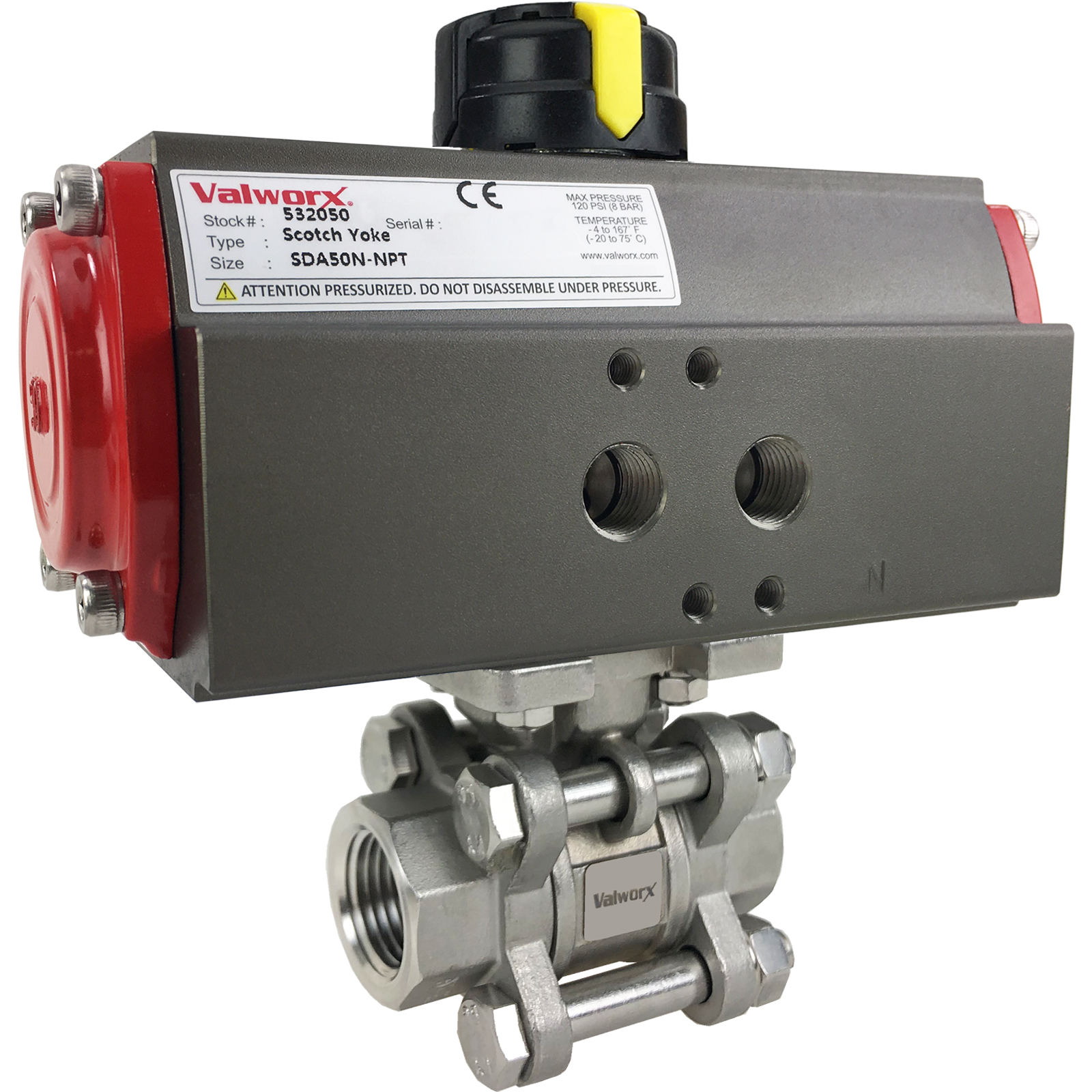 Air Actuated Stainless 3-Piece Ball Valve- Scotch Yoke
