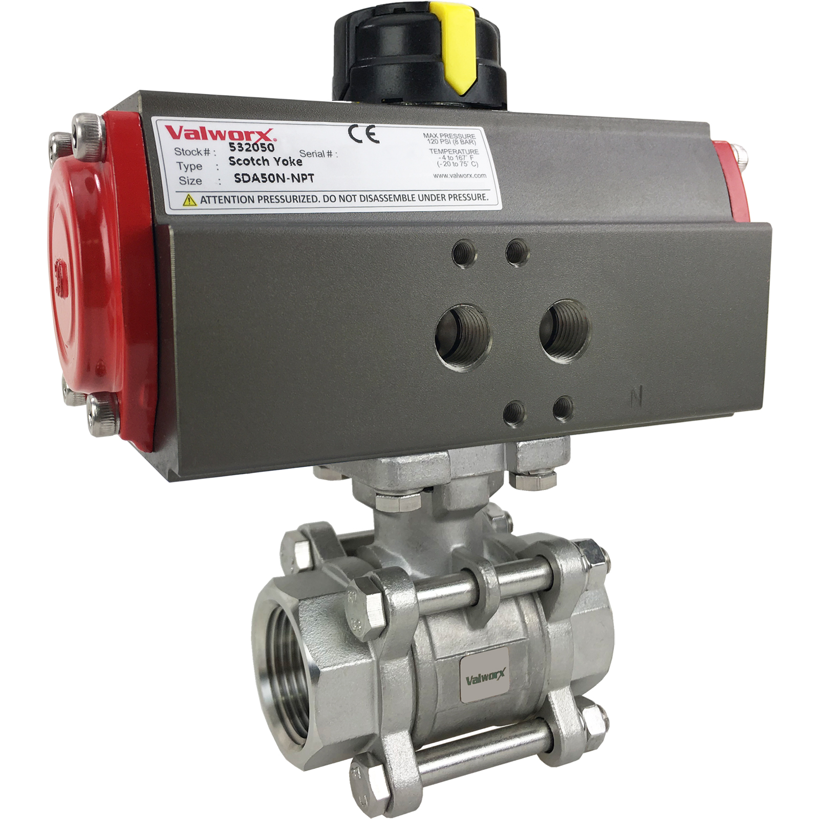 """1"""" Air Actuated 3-pc Stainless Ball Valve - Double Acting Scotch Yoke"""