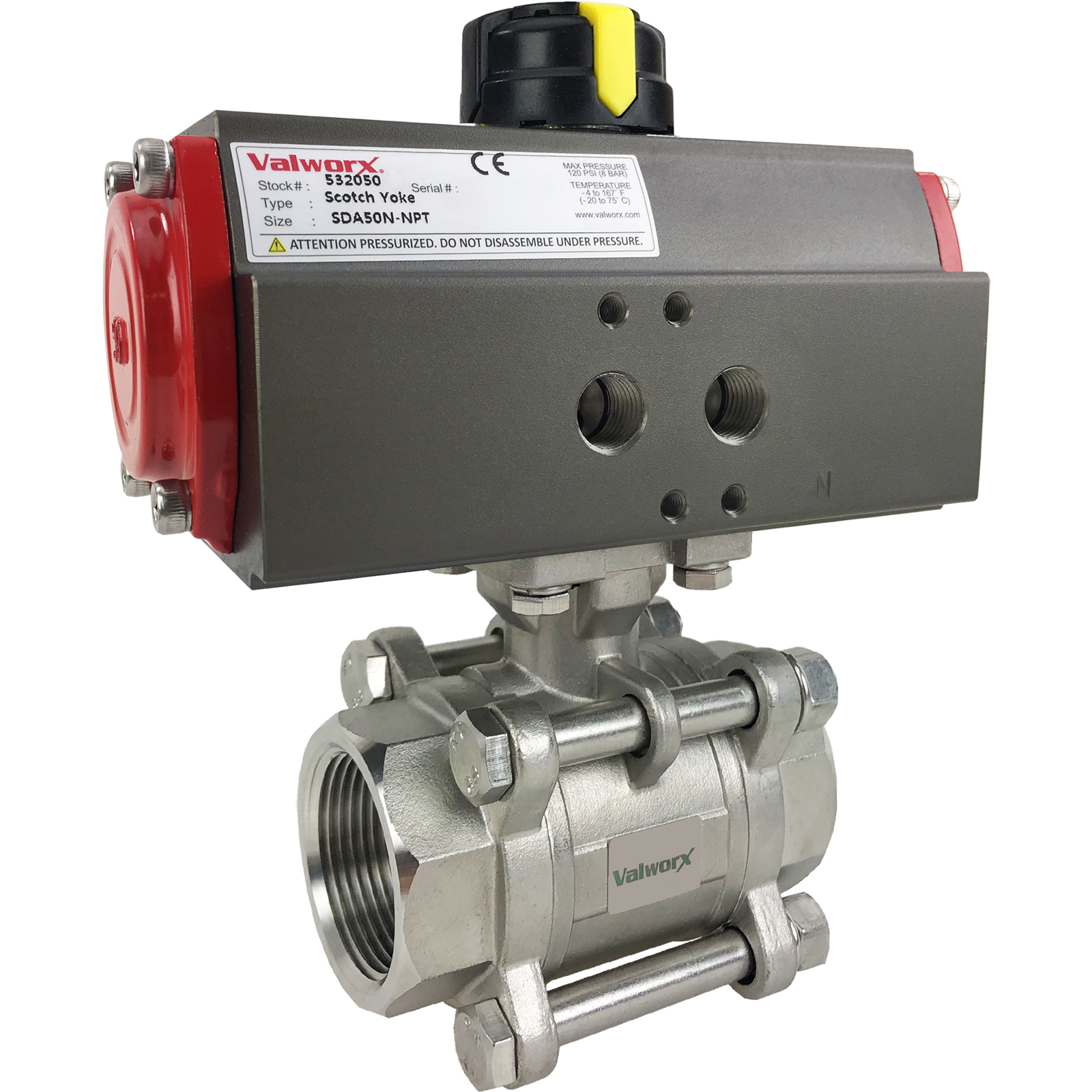 """1 1/4"""" Air Actuated 3-pc Stainless Ball Valve - Double Acting Scotch Yoke"""