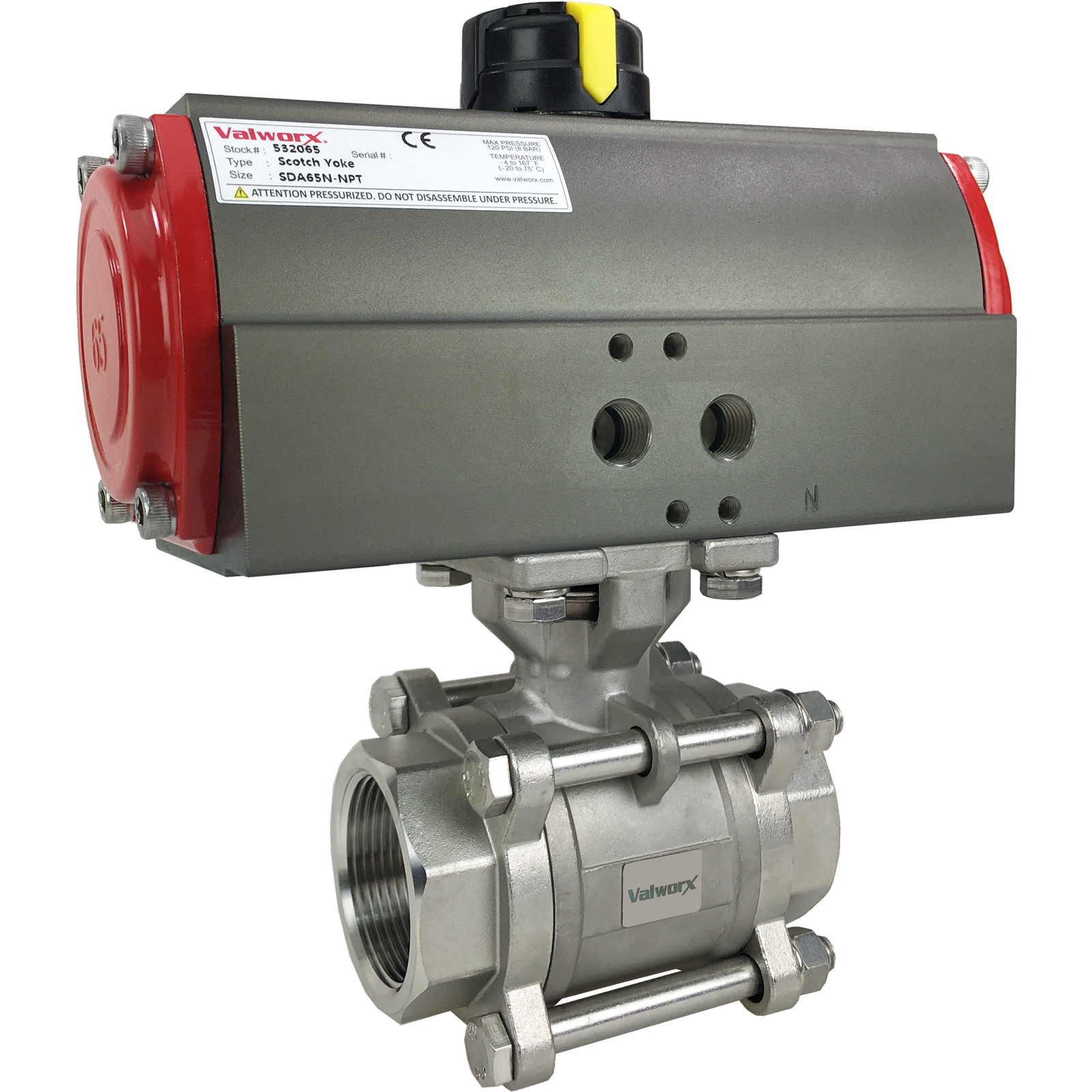 """1 1/2"""" Air Actuated 3-pc Stainless Ball Valve - Double Acting Scotch Yoke"""