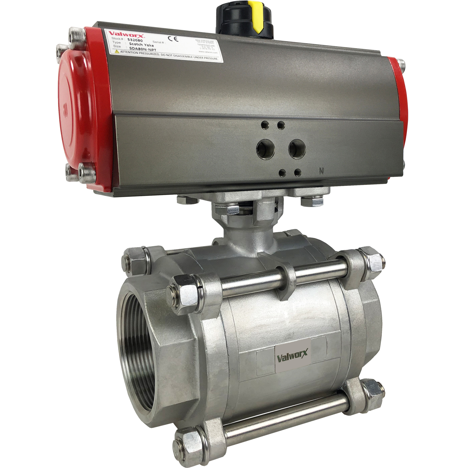 """2 1/2"""" Air Actuated 3-pc Stainless Ball Valve - Double Acting Scotch Yoke"""