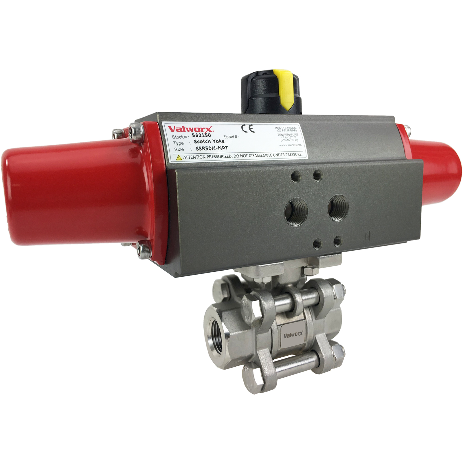 """3/8"""" Air Actuated 3-pc Stainless Ball Valve - Spring Return Scotch Yoke"""
