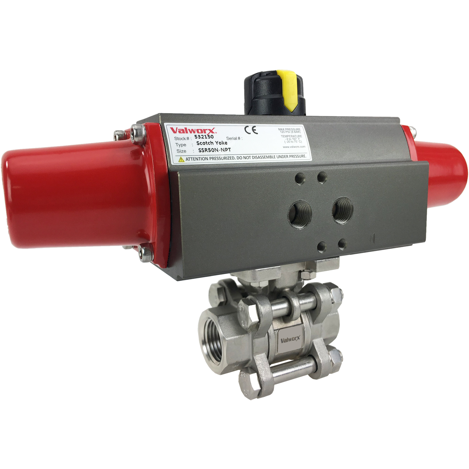 """1/2"""" Air Actuated 3-pc Stainless Ball Valve - Spring Return Scotch Yoke"""
