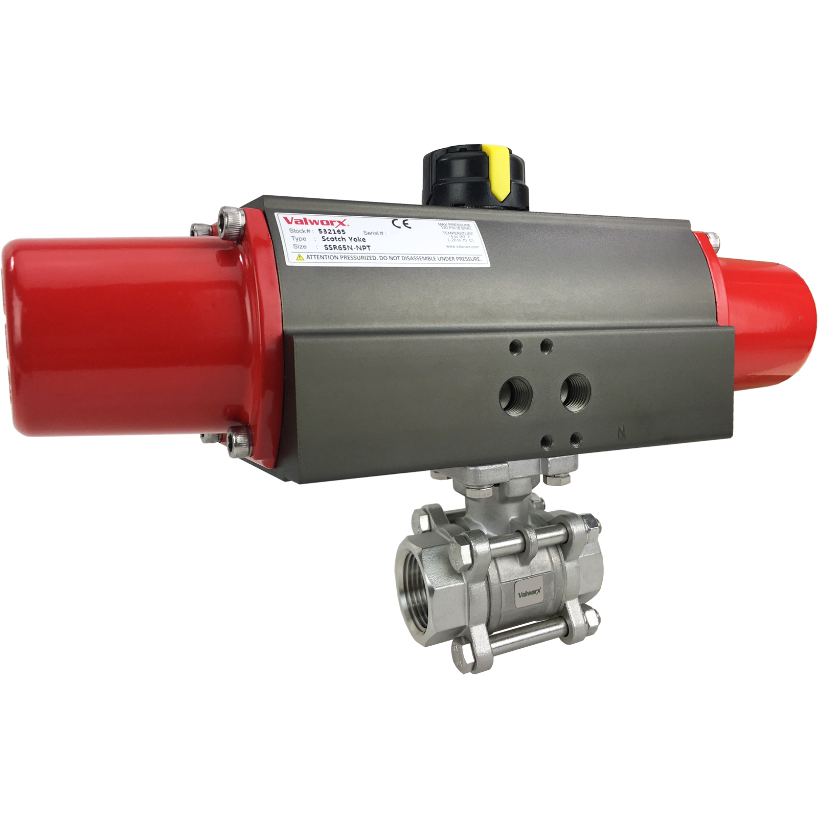 """1"""" Air Actuated 3-pc Stainless Ball Valve - Spring Return Scotch Yoke"""