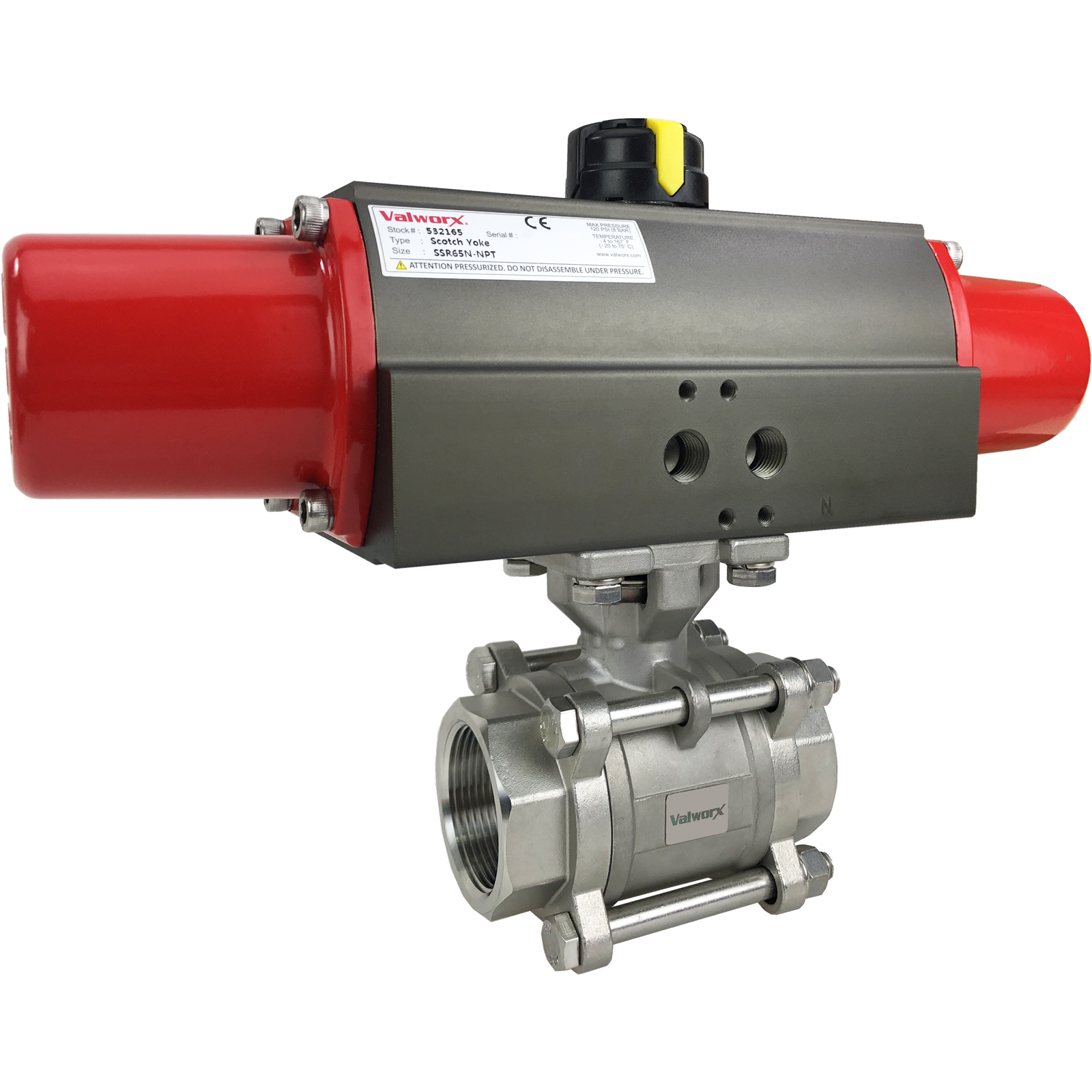 """1 1/2"""" Air Actuated 3-pc Stainless Ball Valve - Spring Return Scotch Yoke"""