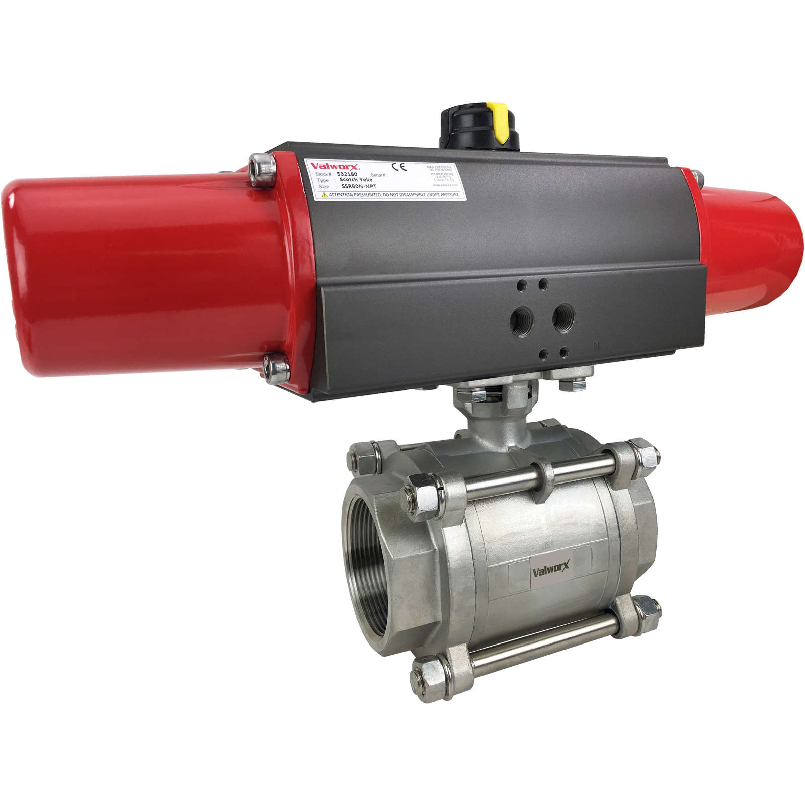 """2 1/2"""" Air Actuated 3-pc Stainless Ball Valve - Spring Return Scotch Yoke"""