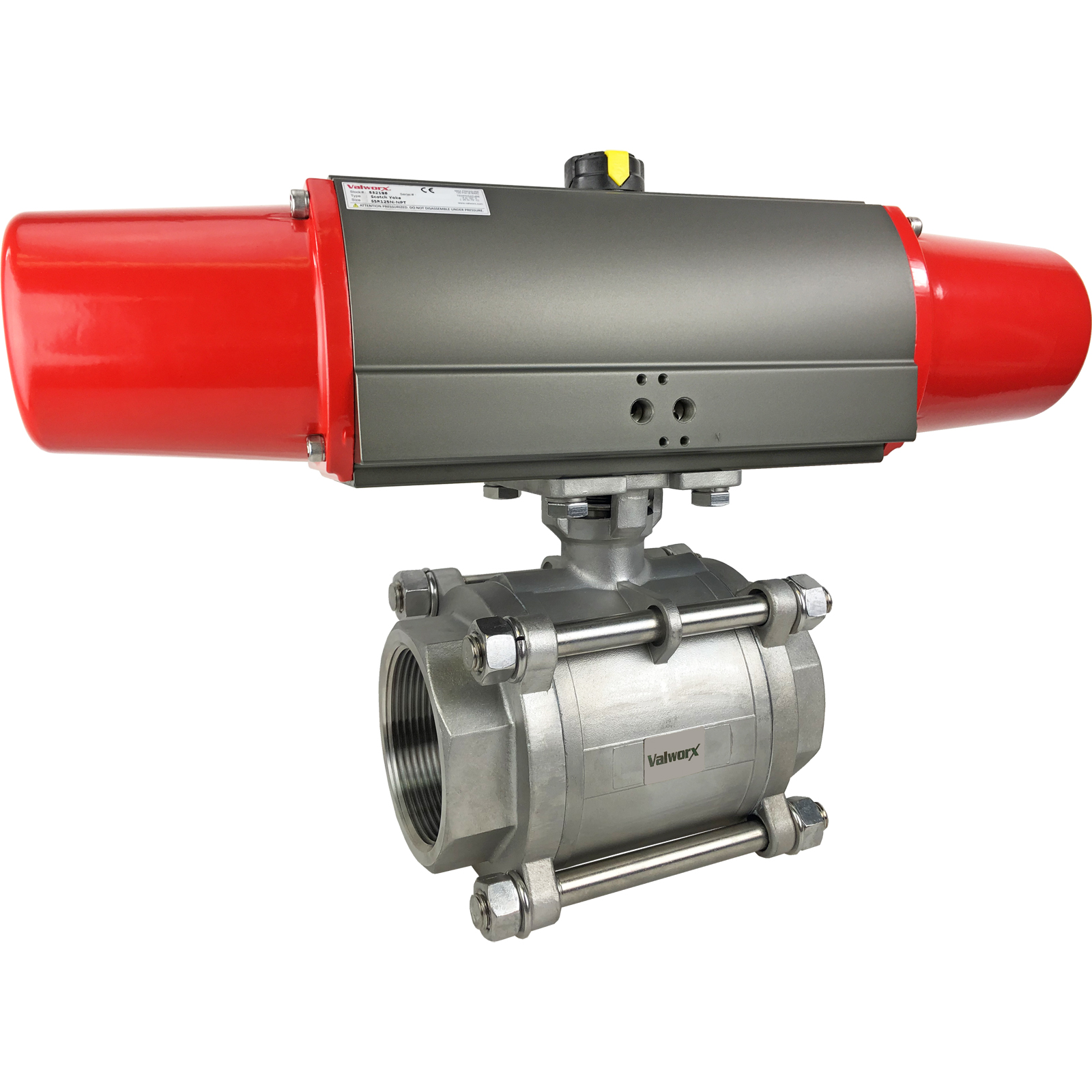 """3"""" Air Actuated 3-pc Stainless Ball Valve - Spring Return Scotch Yoke"""