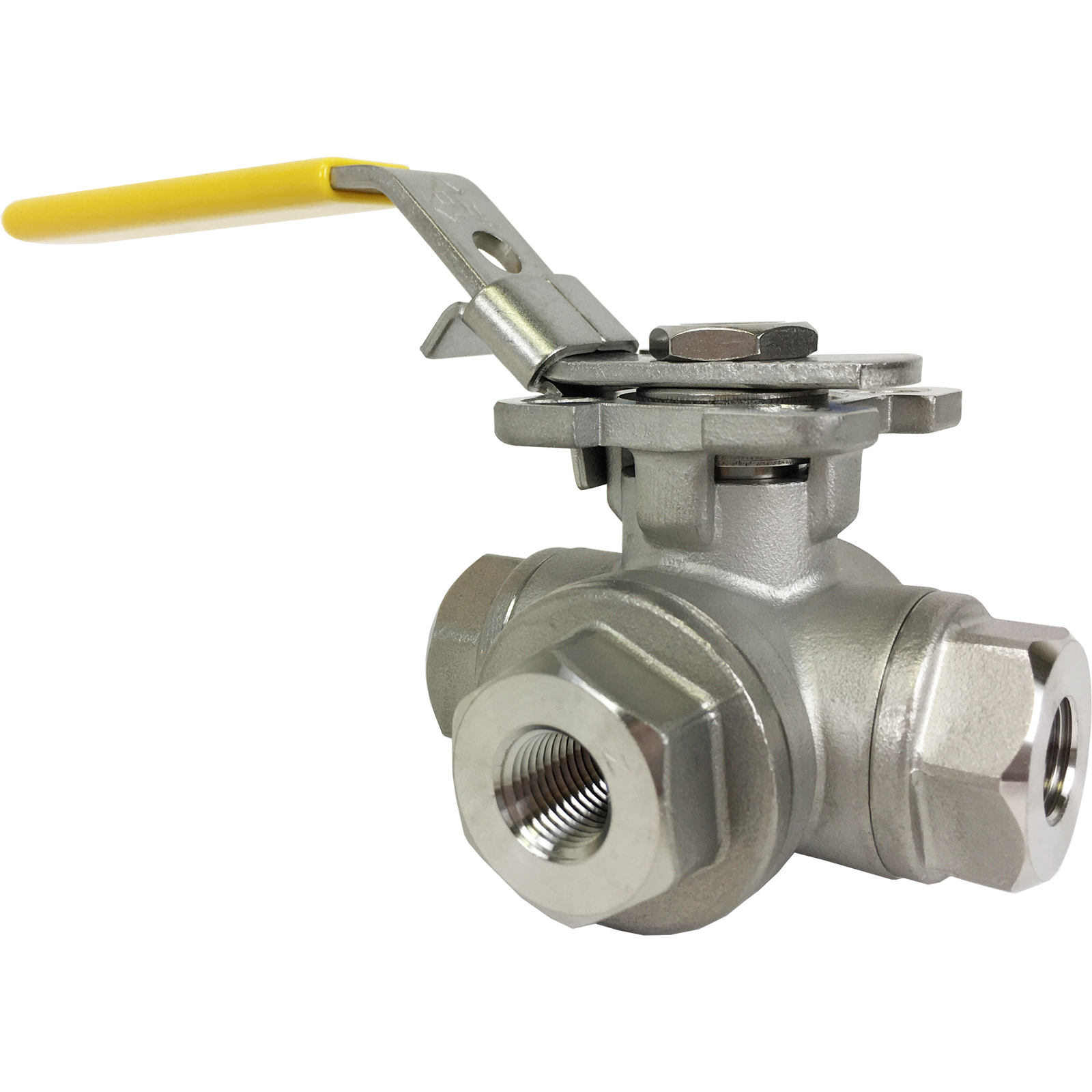 """1/4"""" Stainless 3-Way Ball Valve, L-Port, Direct Mount"""