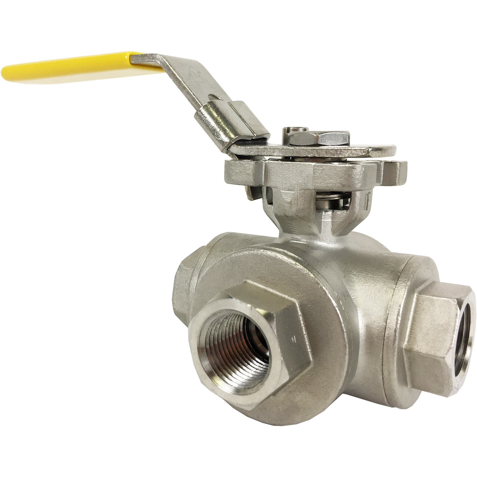 """1/2"""" Stainless 3-Way Ball Valve, L-Port, Direct Mount"""