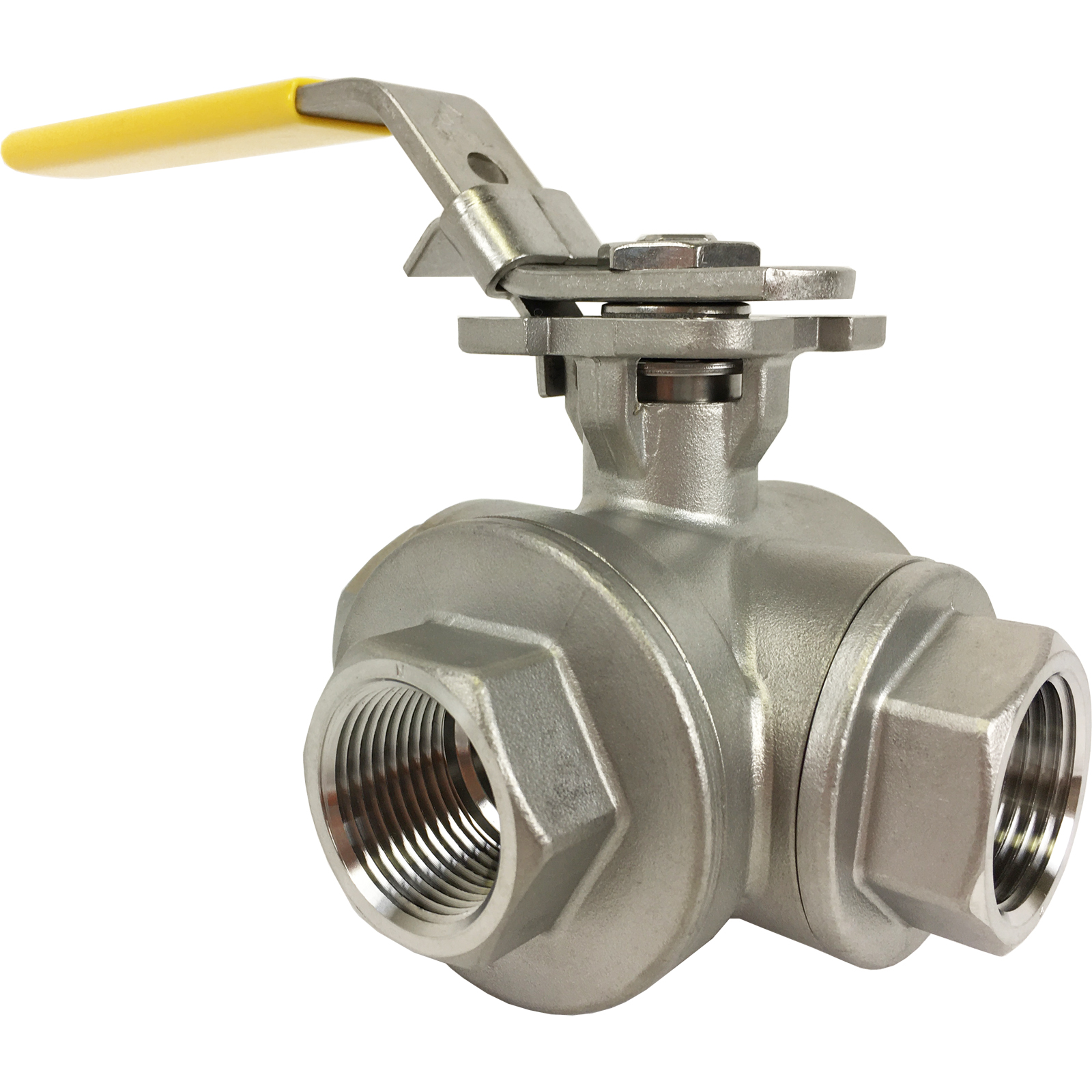 """3/4"""" Stainless 3-Way Ball Valve, L-Port, Direct Mount"""