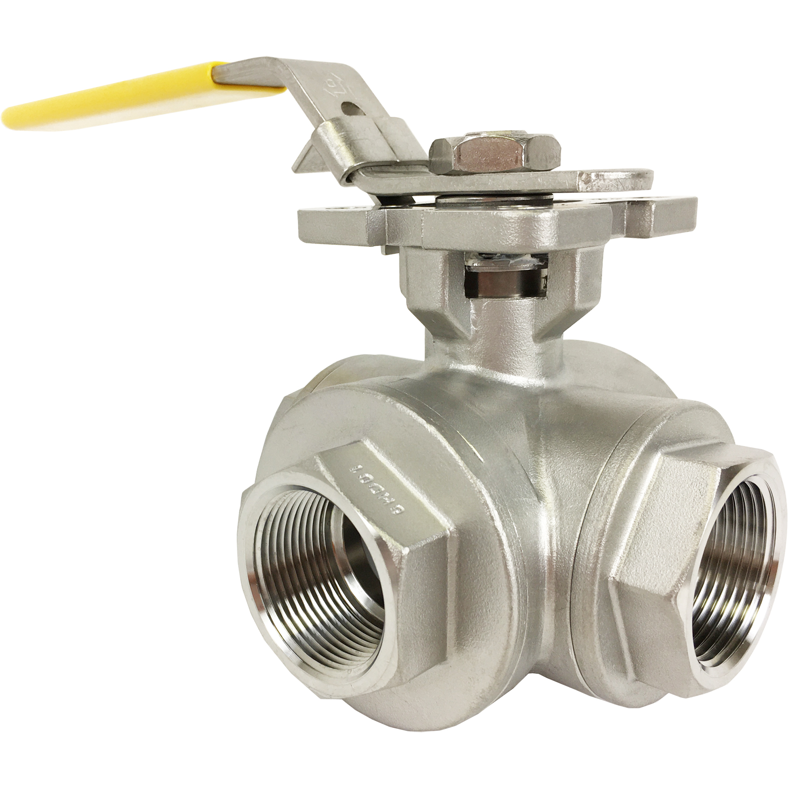 """1-1/4"""" Stainless 3-Way Ball Valve, L-port, Direct Mount"""
