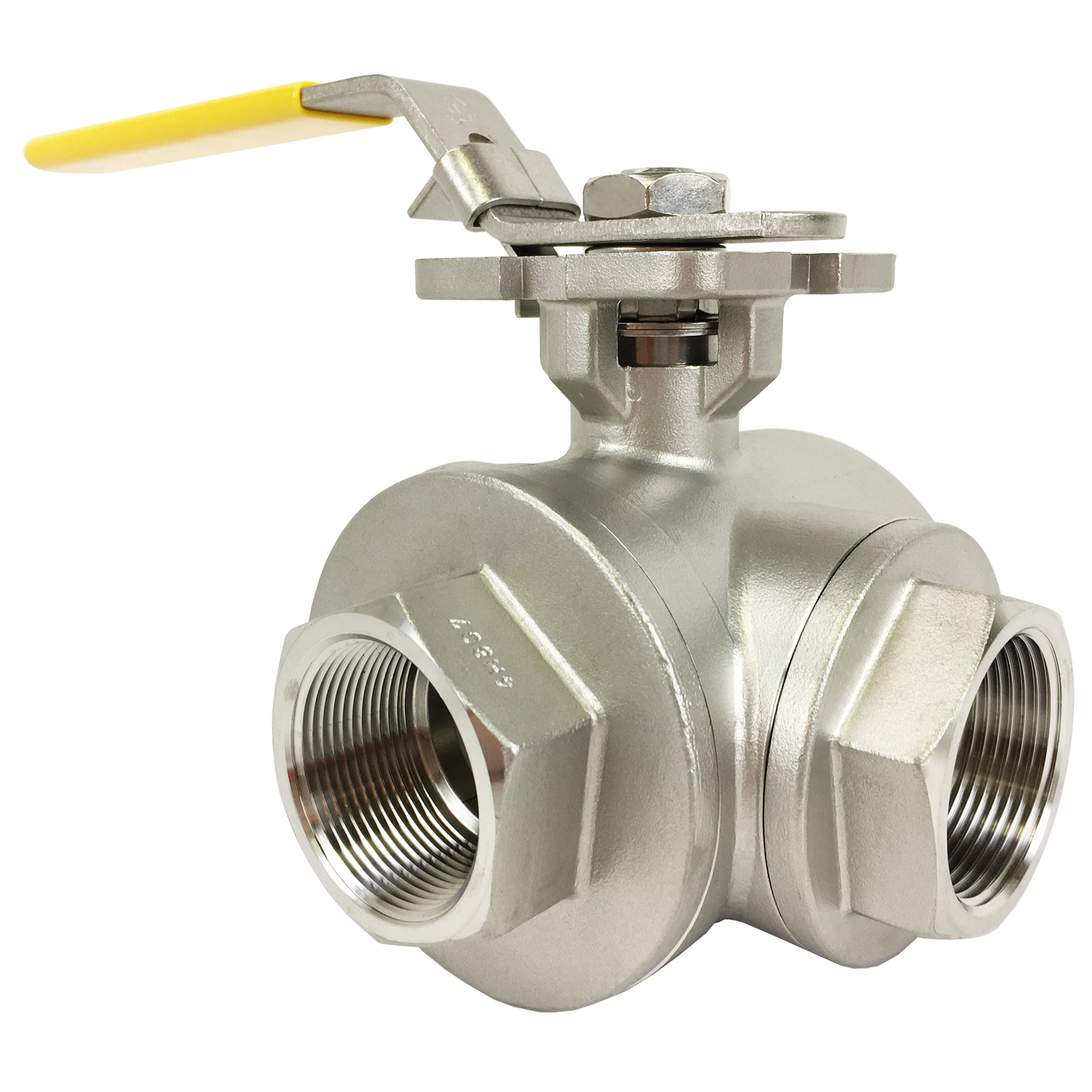 """1-1/2"""" Stainless 3-Way Ball Valve, L-Port, Direct Mount"""