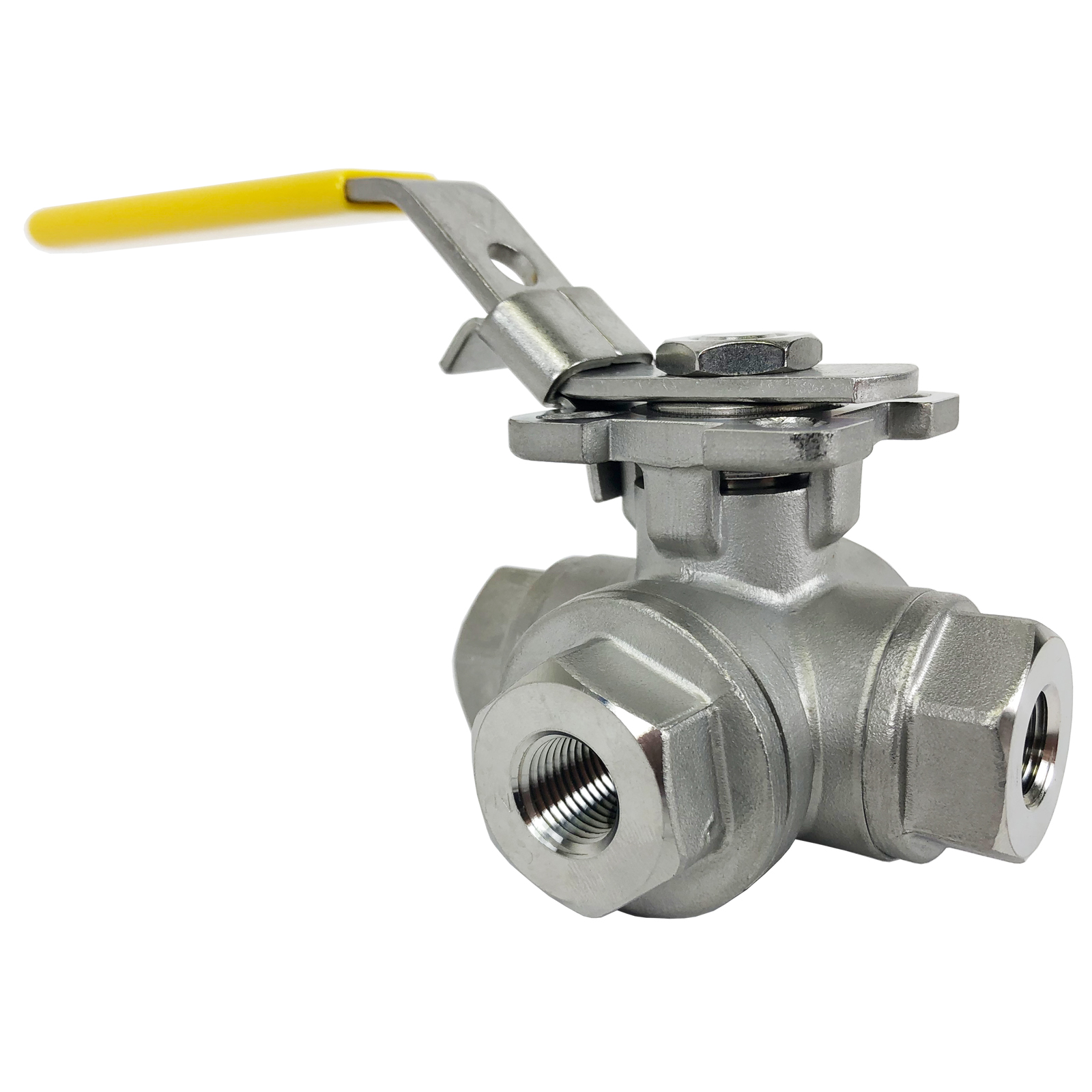 """1/4"""" Stainless 3-Way Ball Valve, T-Port, Direct Mount"""