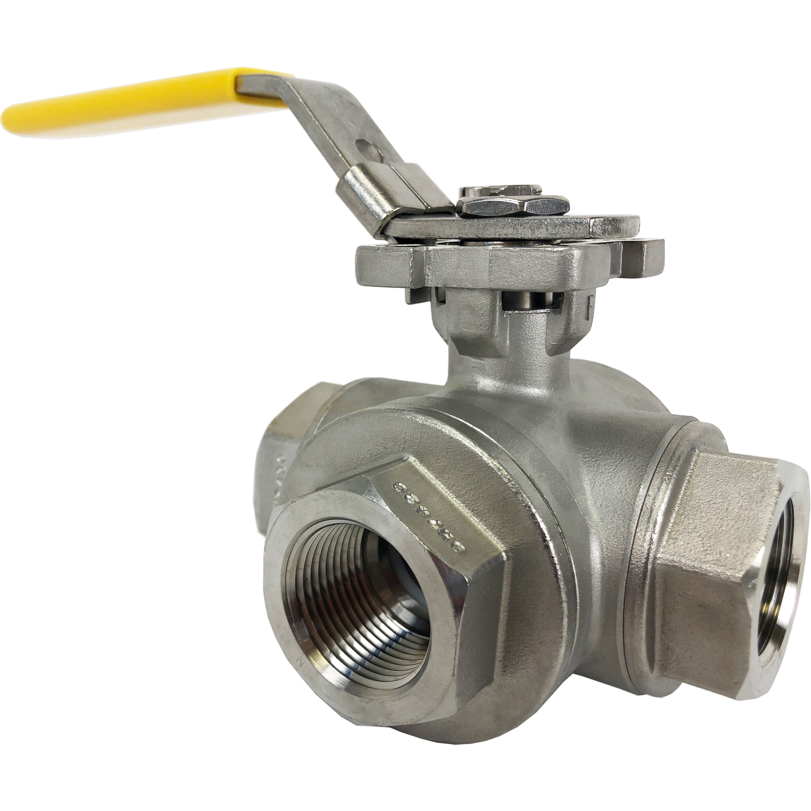 """1"""" Stainless 3-Way Ball Valve, T-Port, Direct Mount"""
