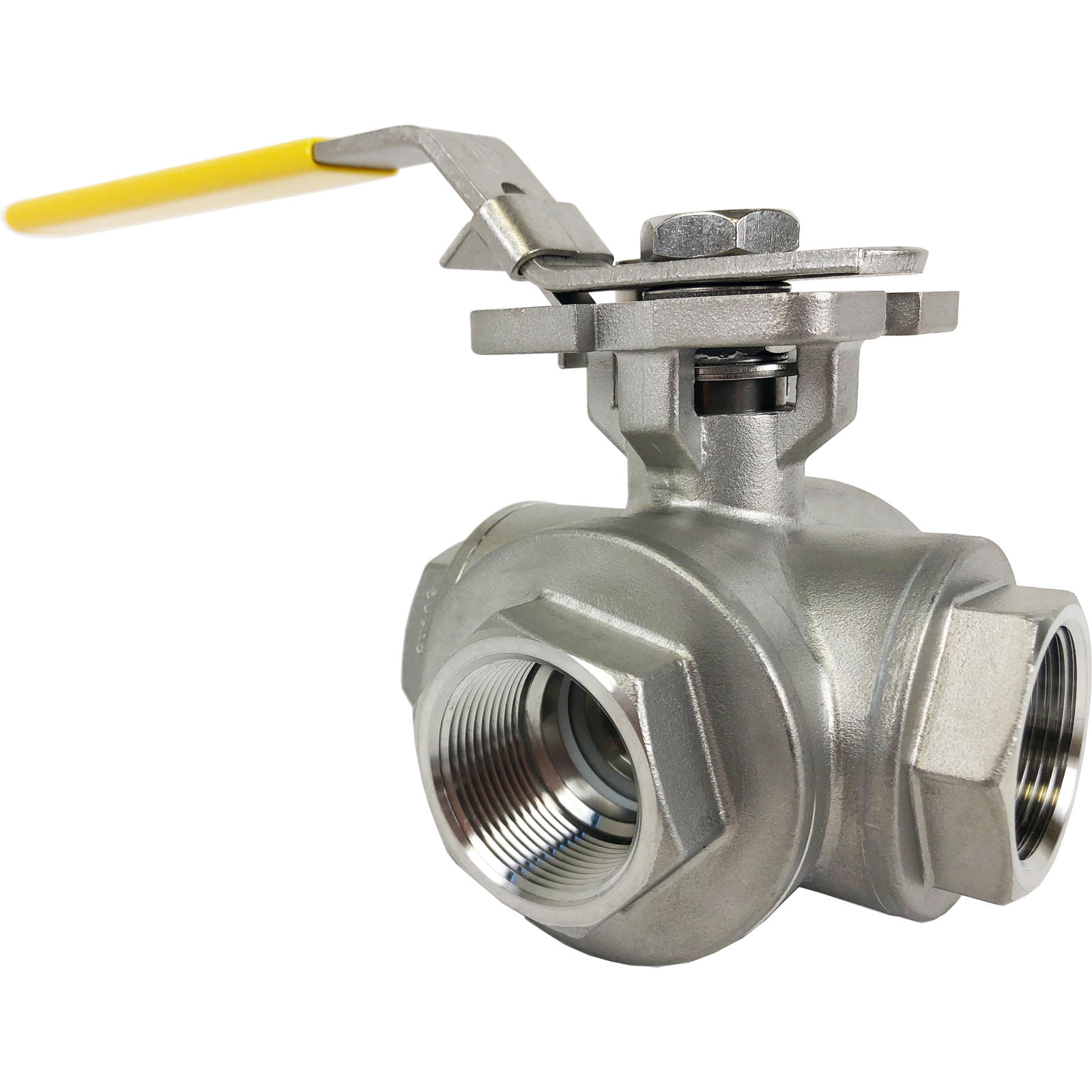 """1-1/4"""" Stainless 3-Way Ball Valve, T-Port, Direct Mount"""